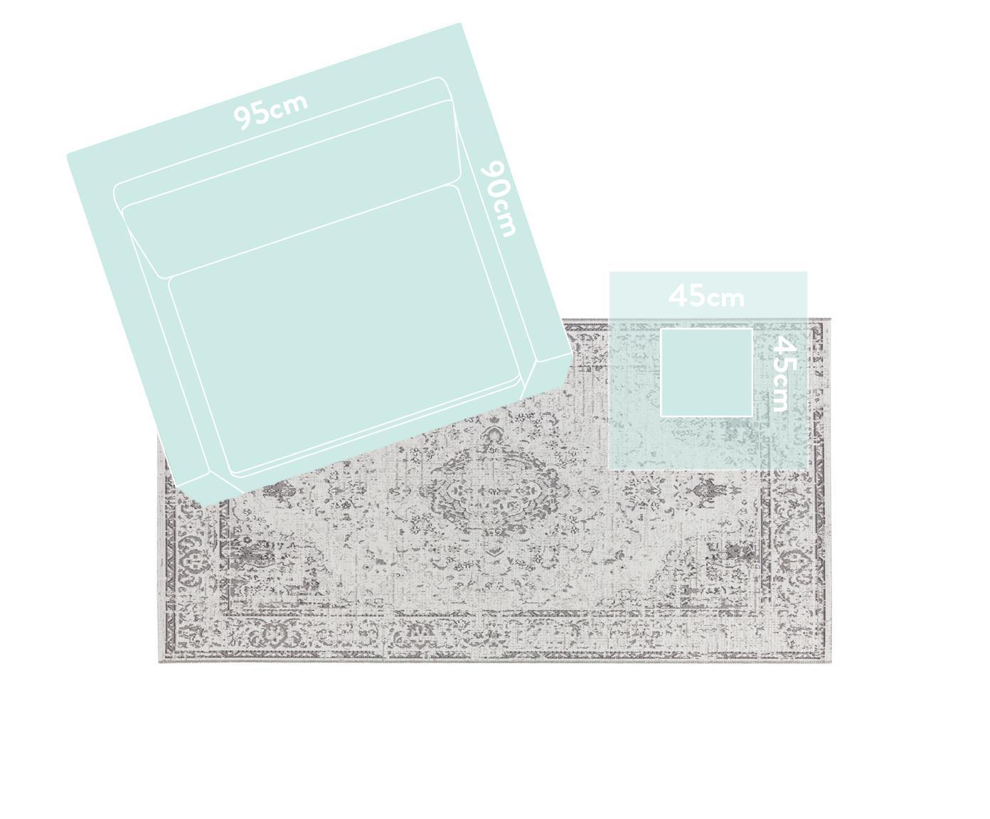 In- en outdoor vloerkleed Cenon in vintage stijl, Polypropyleen, Crèmekleurig, grijs, B 115 x L 170 cm (maat S)