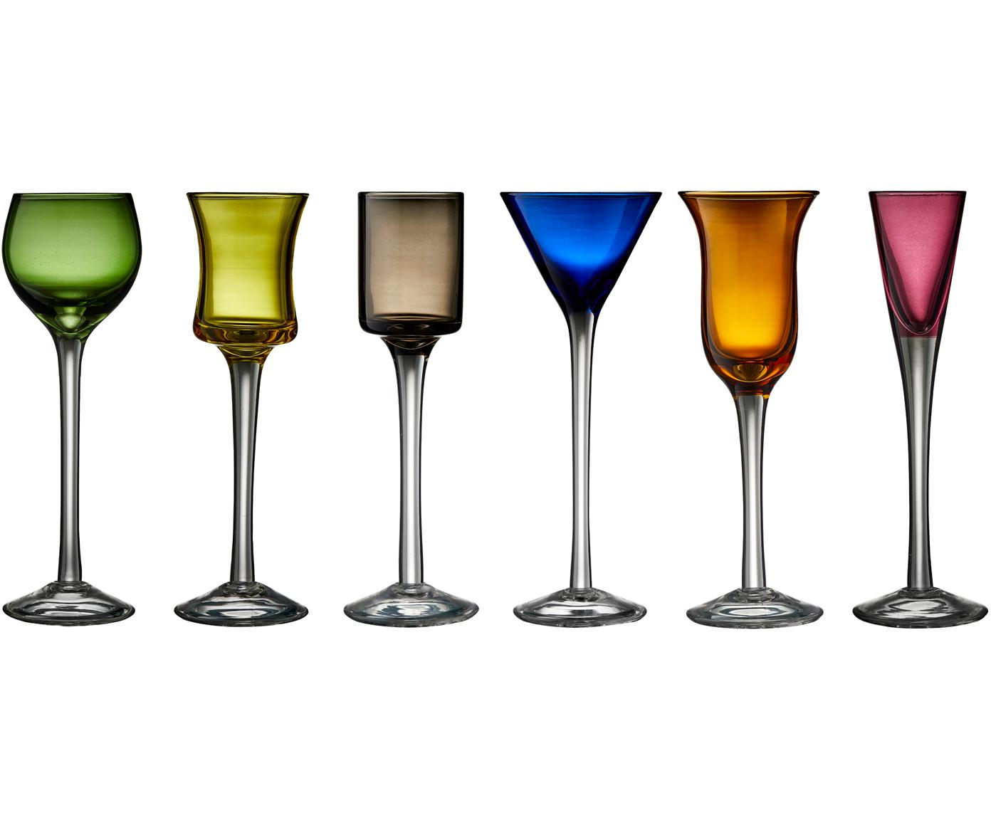 Set de vasos de chupito de vidrio soplado Lyngby, 6pzas., Vidrio, Verde, azul, marrón, amarillo, lila, naranja, Ø 4 x Al 18 cm