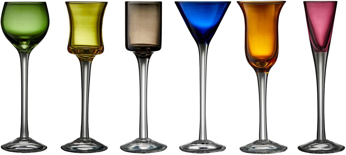 Komplet kieliszków do wódki ze szkła dmuchanego Lyngby, 6 elem., Szkło, Zielony, niebieski, brązowy, żółty, lila, pomarańczowy, Ø 4 x W 18 cm