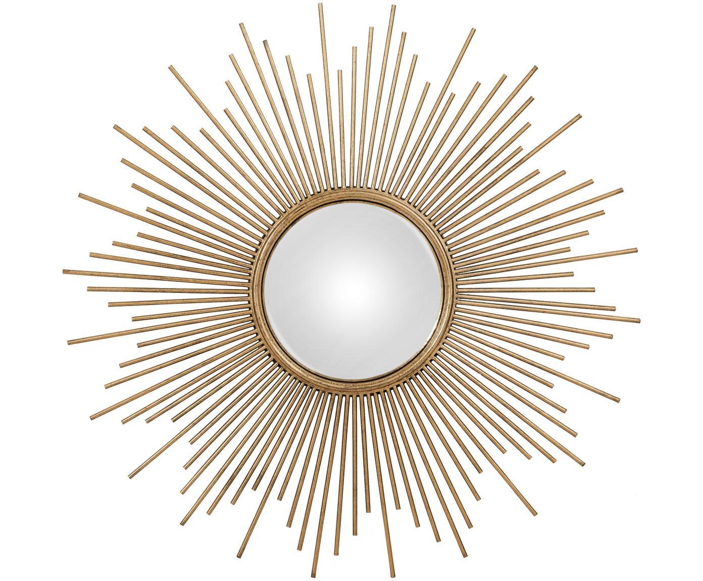 Sonnenspiegel Cora in Gold, Rahmen: Metall, Spiegelfläche: Spiegelglas, Goldfarben, Ø 98 cm