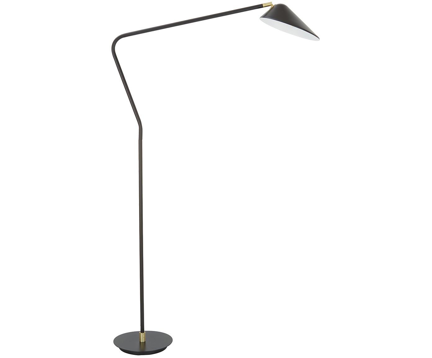 Vloerlamp Neron, Lampenkap: gepoedercoat metaal, Lampvoet: gepoedercoat metaal, Zwart, 27 x 171 cm