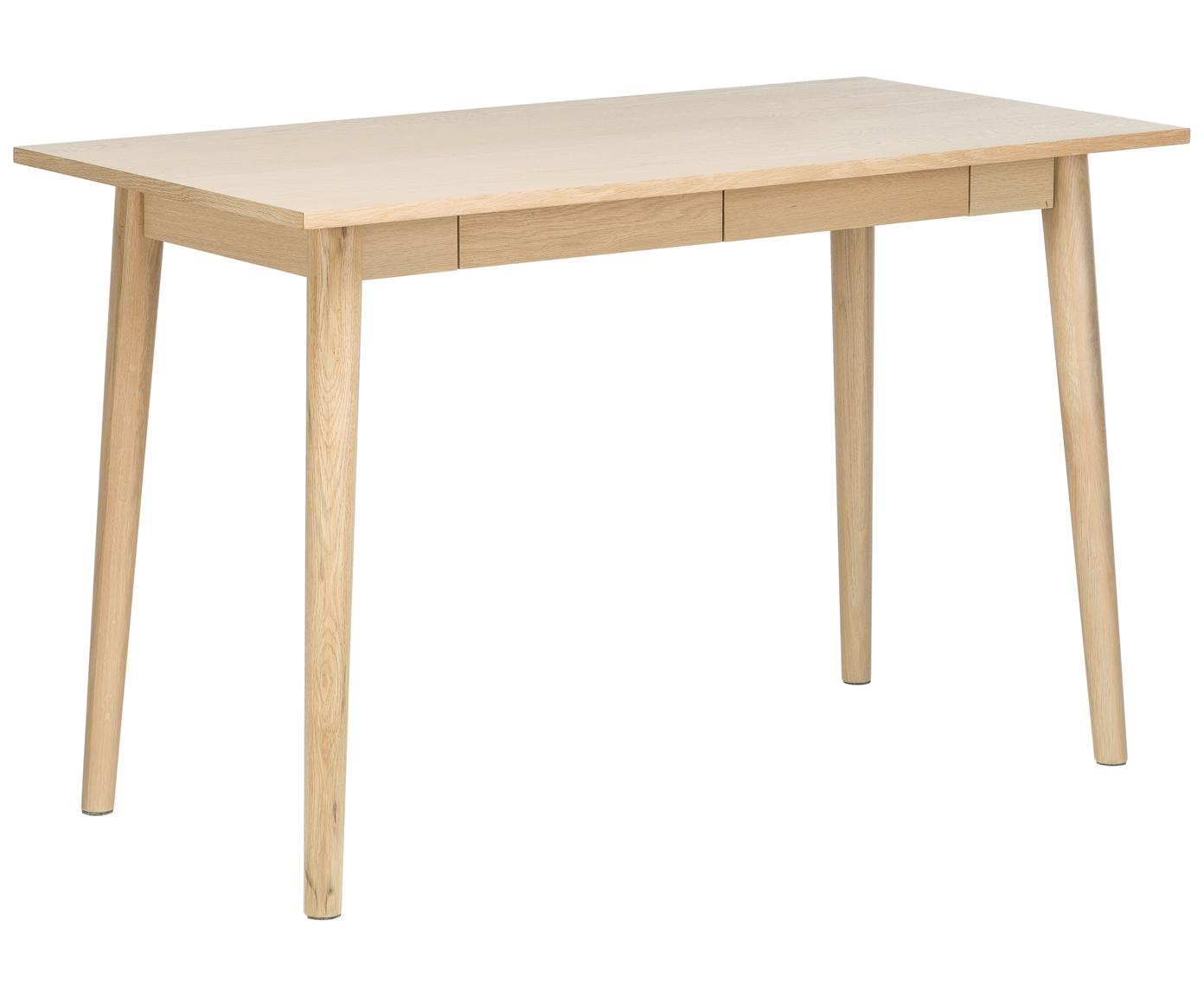 Kleiner Schreibtisch Marte aus Eiche, Tischplatte: Mitteldichte Holzfaserpla, Eichenholz, weisspigmentiert, B 120 x T 60 cm