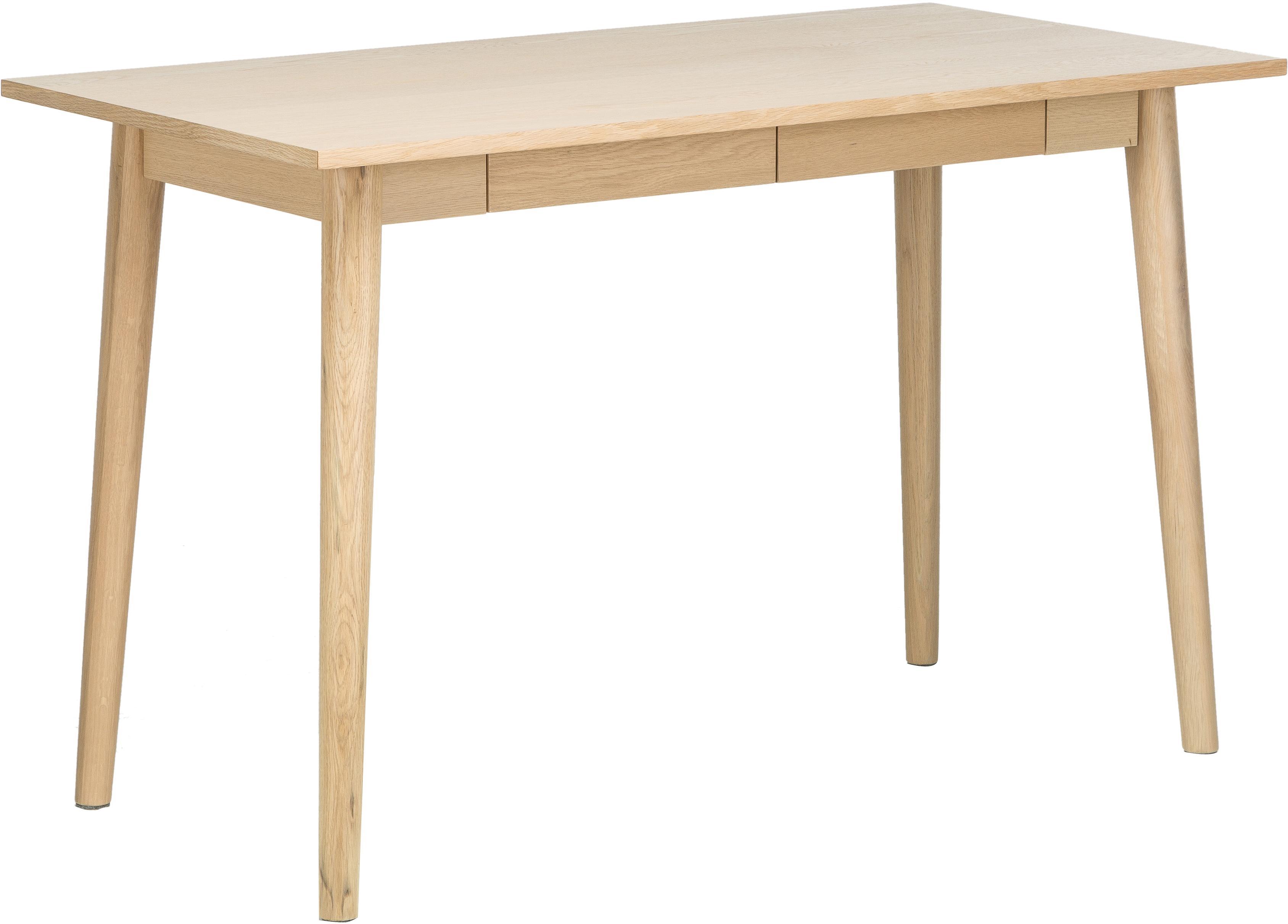 Małe biurko z drewna dębowego Marte, Nogi: drewno dębowe, fornir, Blat: płyta pilśniowa średniej , Drewno dębowe, bielone, S 120 x G 60 cm