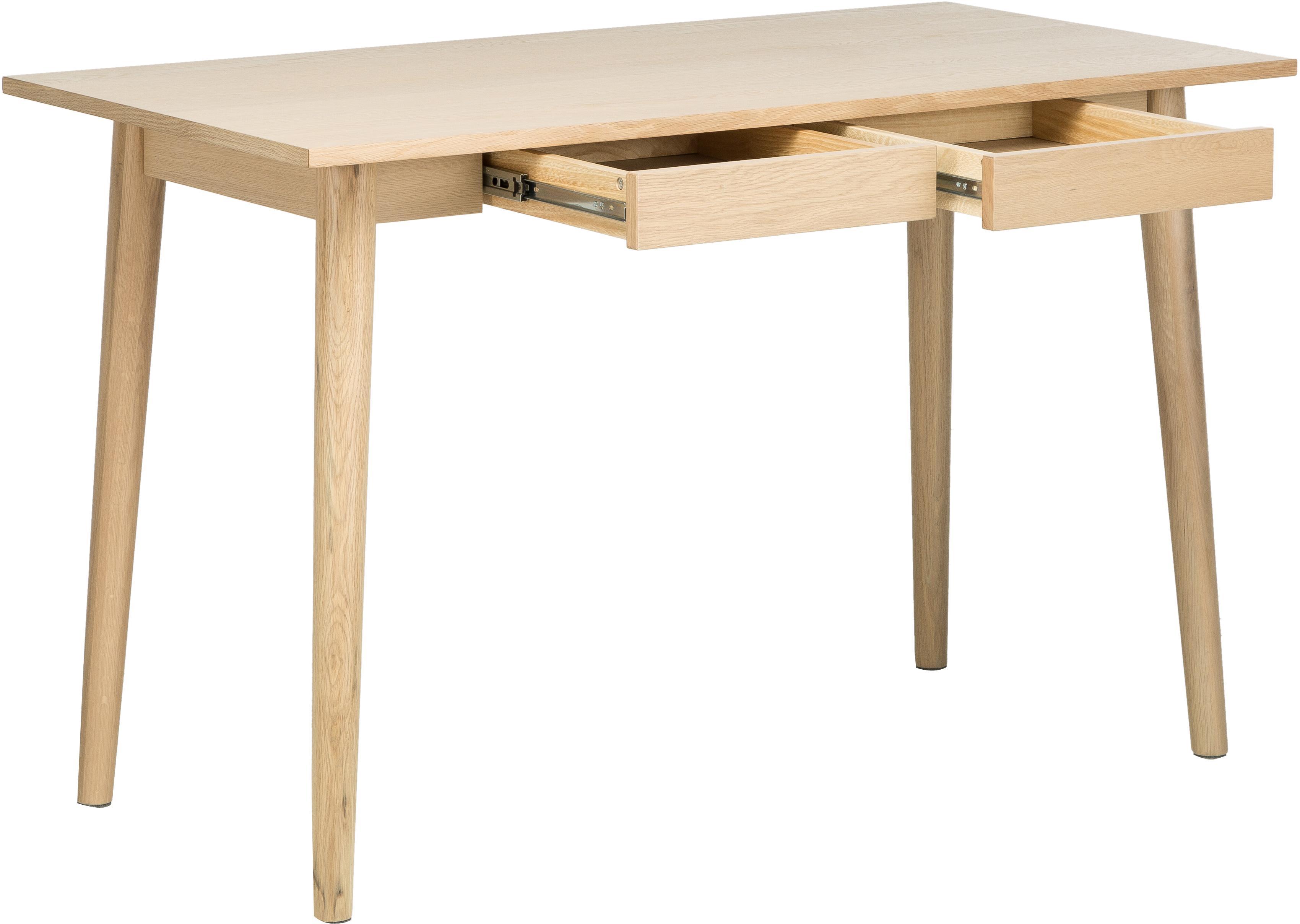 Kleiner Schreibtisch Marte aus Eiche, Tischplatte: Mitteldichte Holzfaserpla, Eichenholz, weißpigmentiert, B 120 x T 60 cm