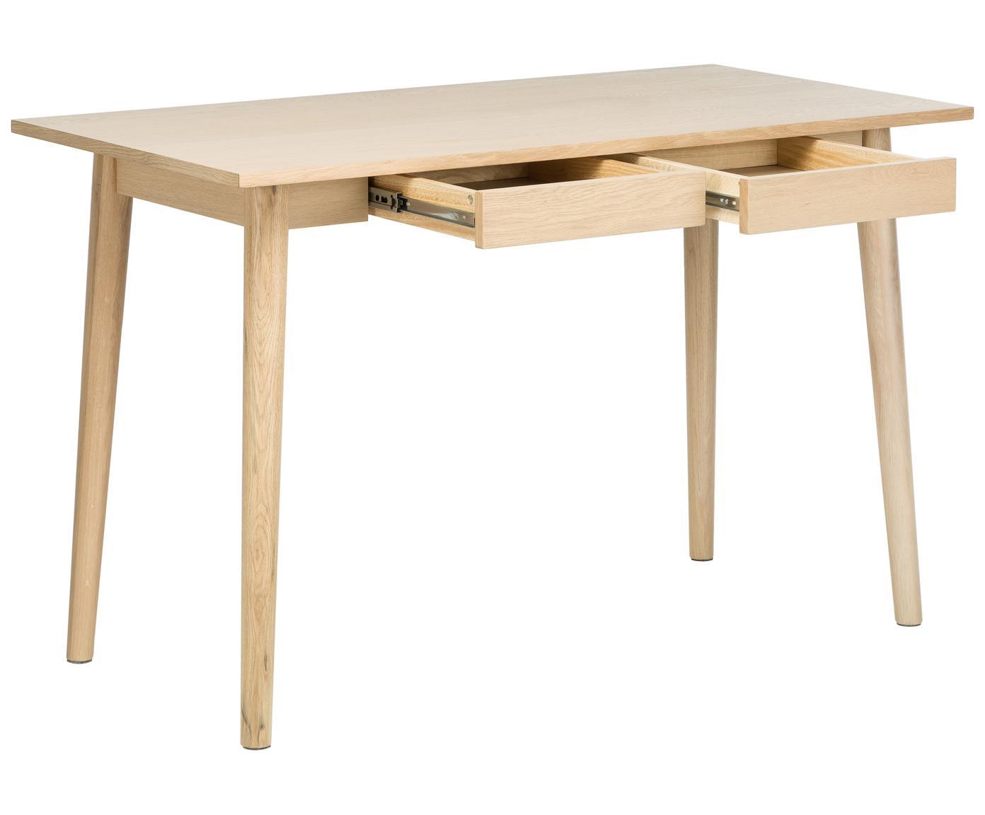 Bureau Marte, Tafelblad: medium-density fibreboard, Wit gepigmenteerd eikenhoutkleurig, B 120 x D 60 cm