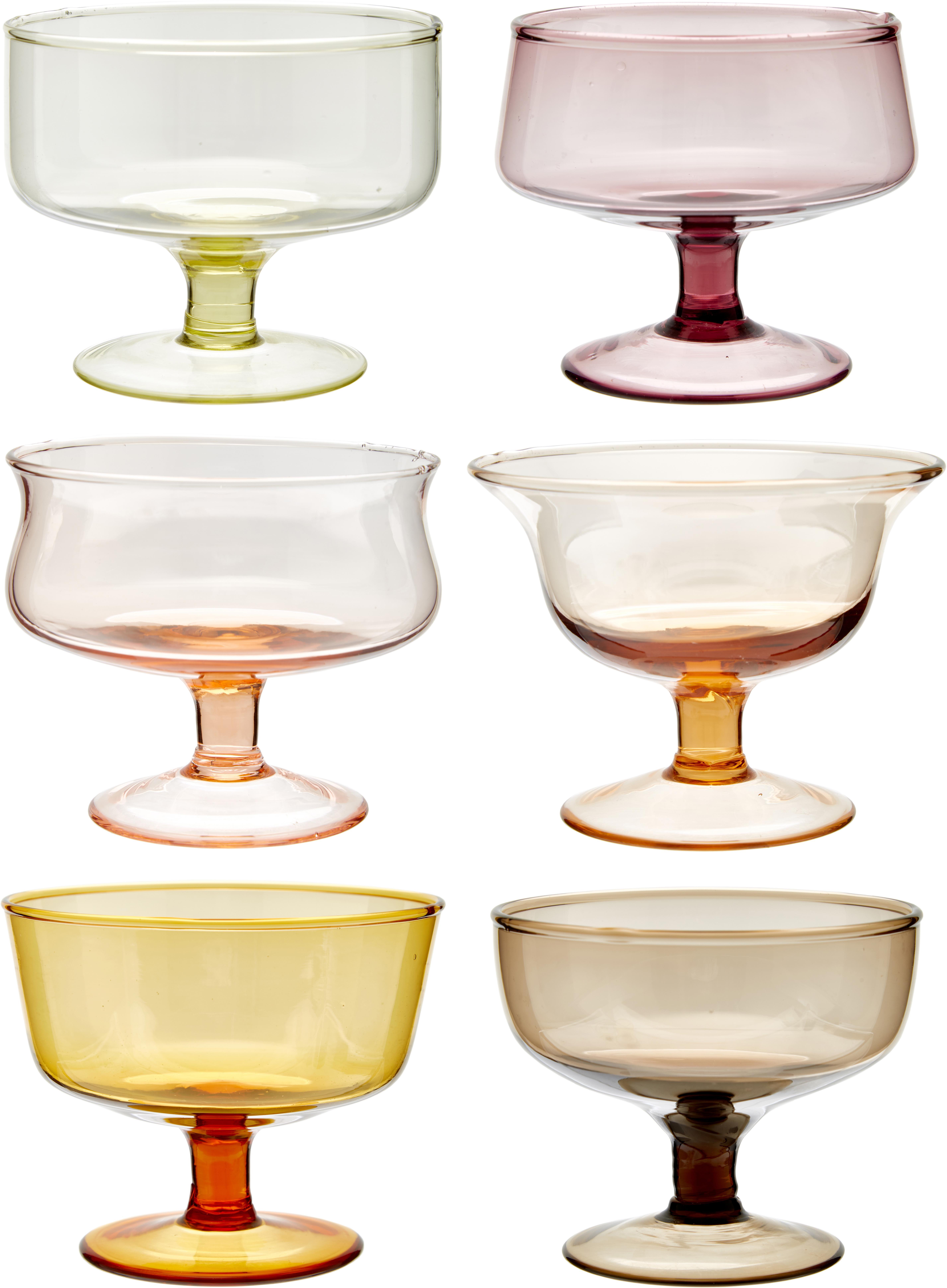 Mondgeblazen ijsschalenset Desigual, 6-delig, Mondgeblazen glas, Multicolour, Ø 12 x H 8 cm
