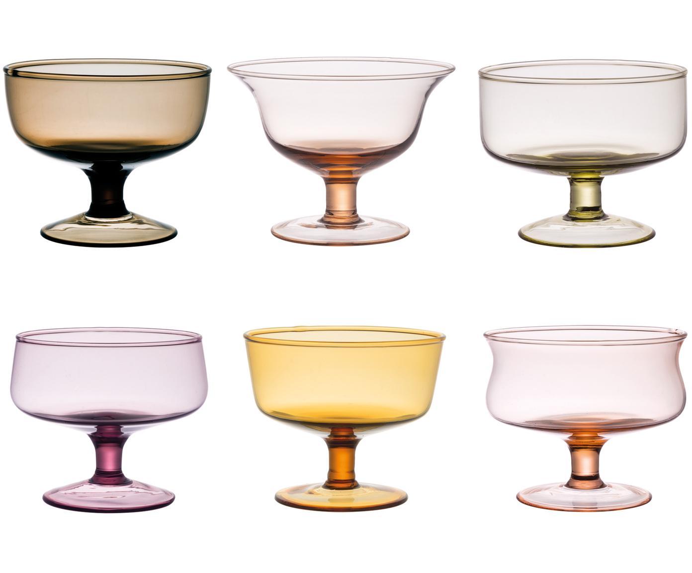 Set 6 ciotole in vetro soffiato Desigual, Vetro soffiato a bocca, Multicolore, Ø 12 x Alt. 8 cm