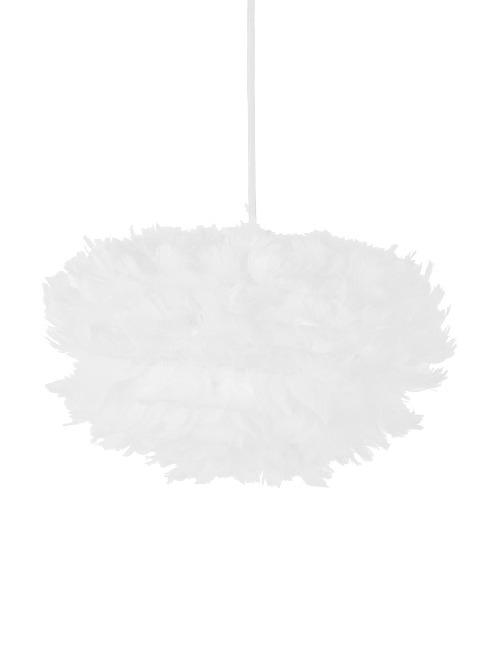 Pendelleuchte Eos aus Federn, Lampenschirm: Gänsefedern, Stahl, Baldachin: Kunststoff, Weiss, Ø 32 x H 20 cm