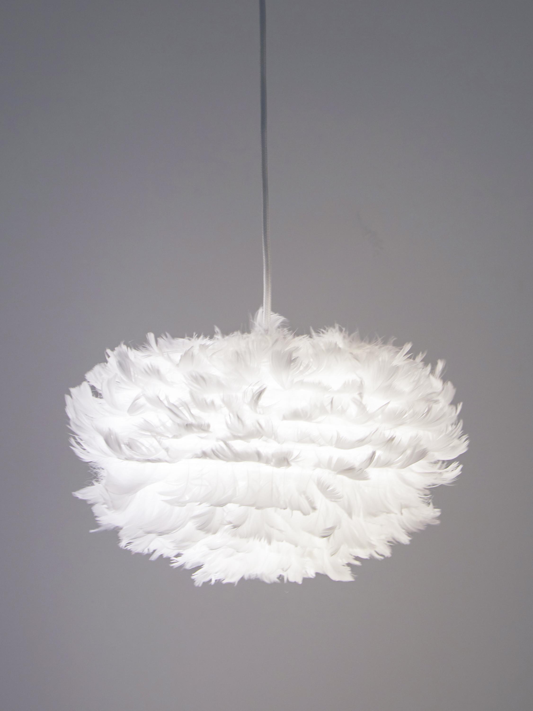Lampada a sospensione in piume Eos, Paralume: piuma d'oca, acciaio, Baldacchino: materiale sintetico, Bianco, Ø 65 x Alt. 40 cm