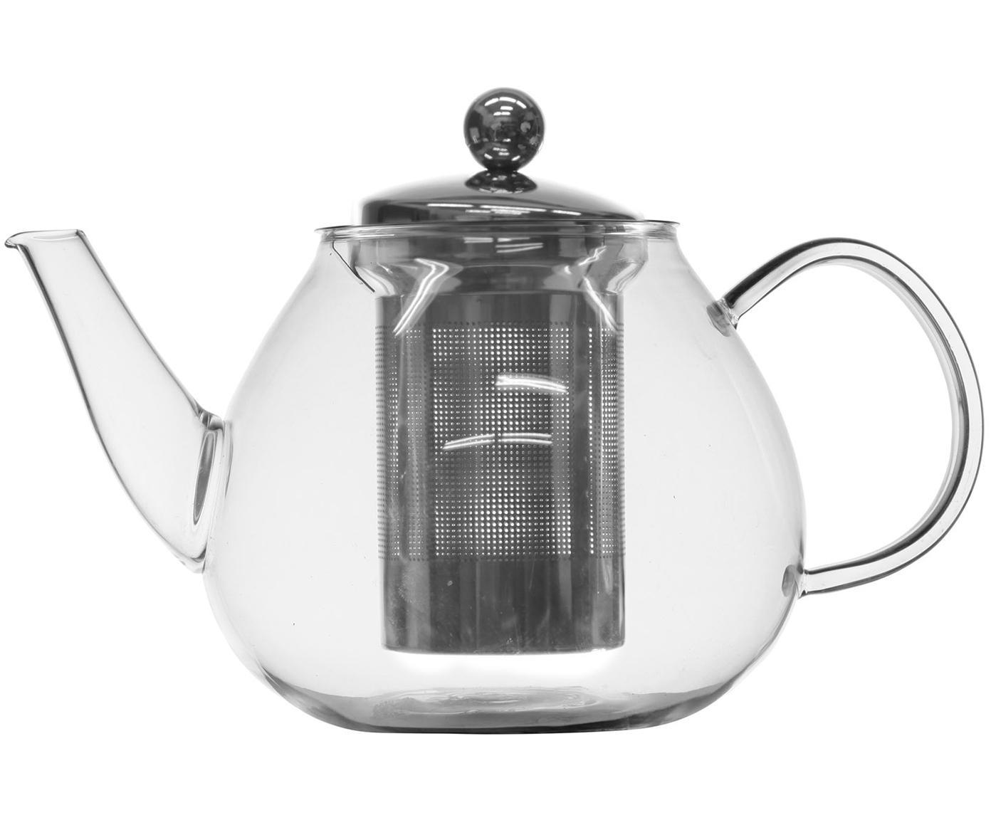 Teekanne Archie mit Teesieb und Deckel, Kanne: Glas, Sieb: Edelstahl, Transparent, Silberfarben, 23 x 14 cm
