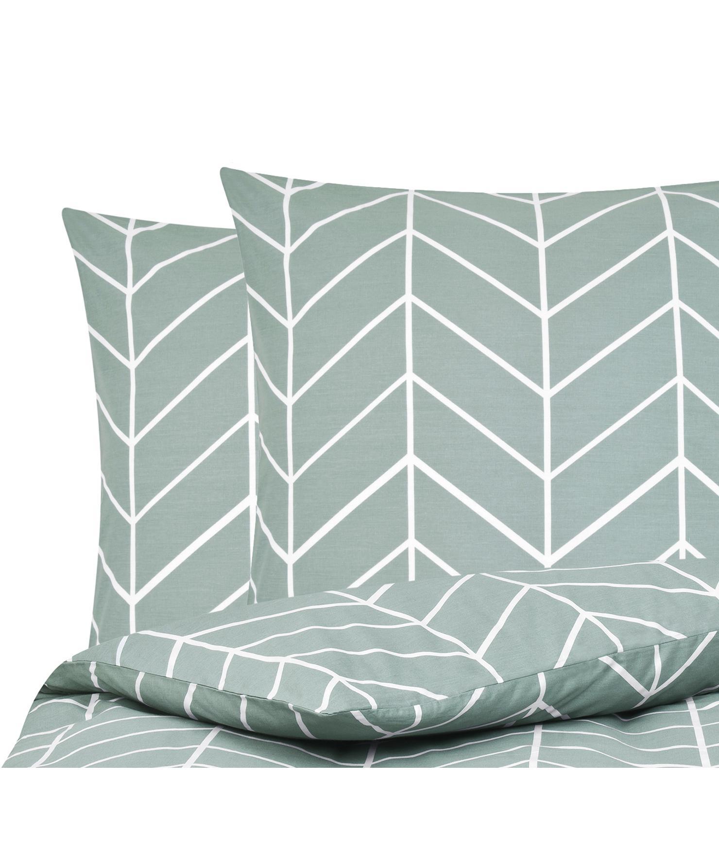 Baumwoll-Bettwäsche Mirja mit grafischem Muster, Webart: Renforcé Fadendichte 144 , Grün, Cremeweiß, 240 x 220 cm + 2 Kissen 80 x 80 cm