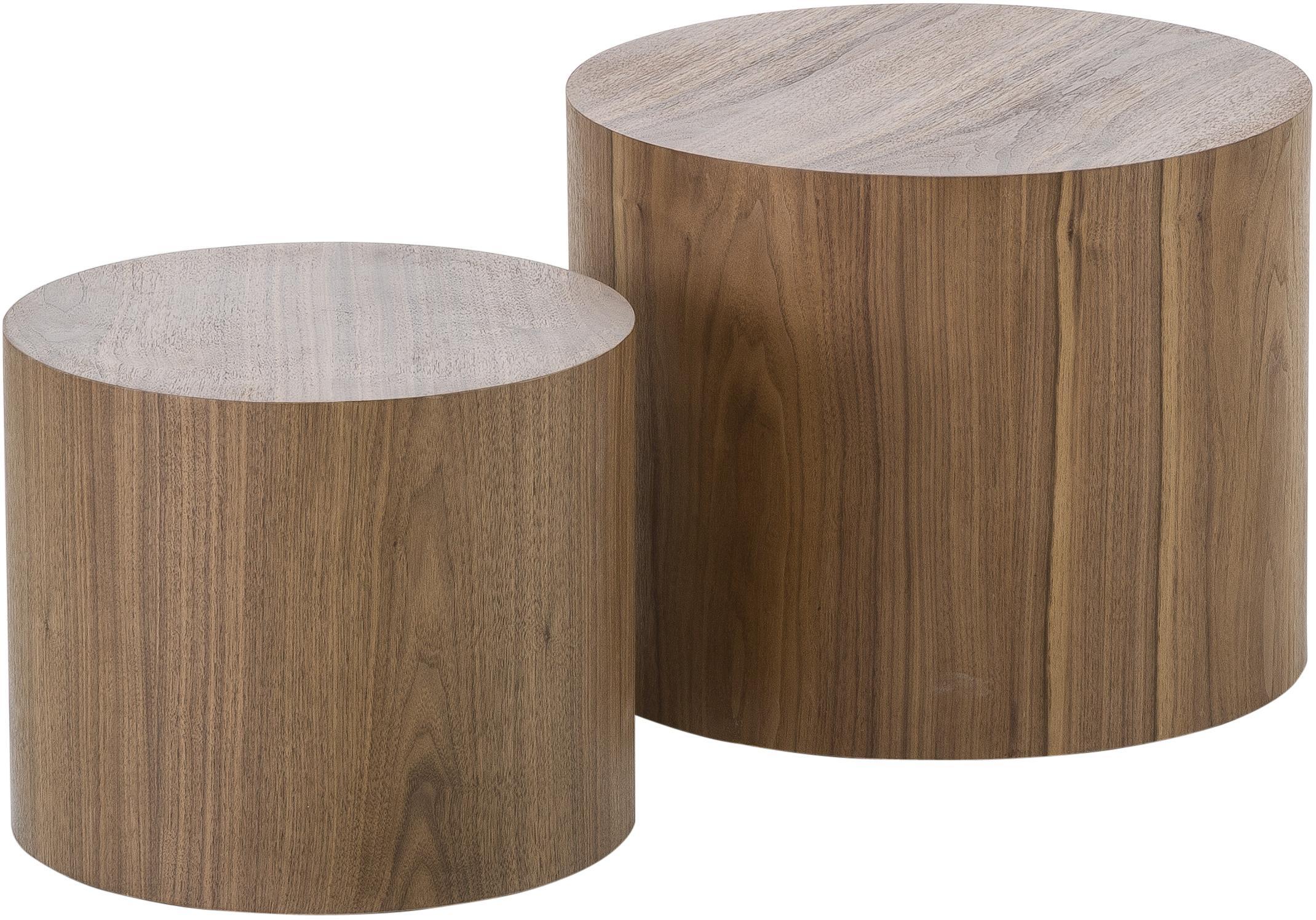 Komplet stolików pomocniczych Dan, 2 elem., Płyta pilśniowa (MDF), fornir z drewna orzechowego, Wygląd drewna orzecha włoskiego, Komplet z różnymi rozmiarami