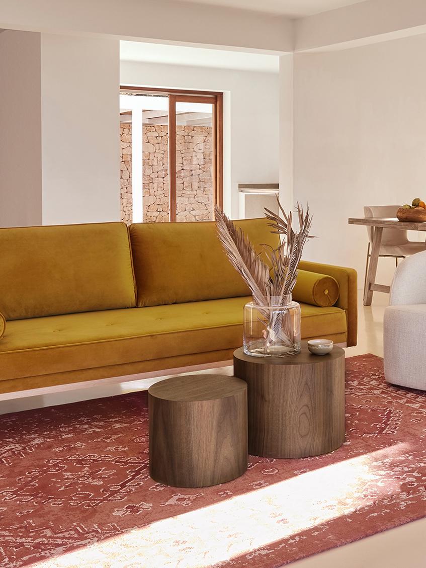 Set de mesas auxiliares Dan, 2uds., Tablero de fibras de densidad media(MDF) con chapado de nogal, Acabado de madera de nogal, Tamaños diferentes