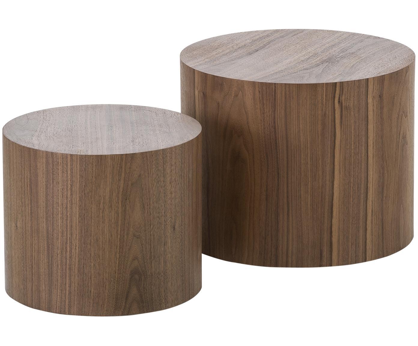 Set 2  tavolini in legno Dan, Pannello di fibra a media densità (MDF) con impiallacciatura di noce, Aspetto legno di noce, Diverse dimensioni