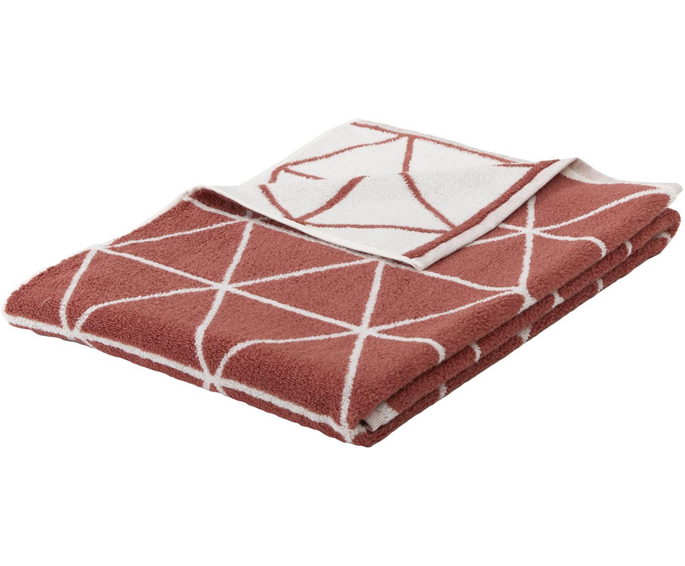 Wende-Handtuch Elina mit grafischem Muster, Terrakotta, Cremeweiß, Handtuch