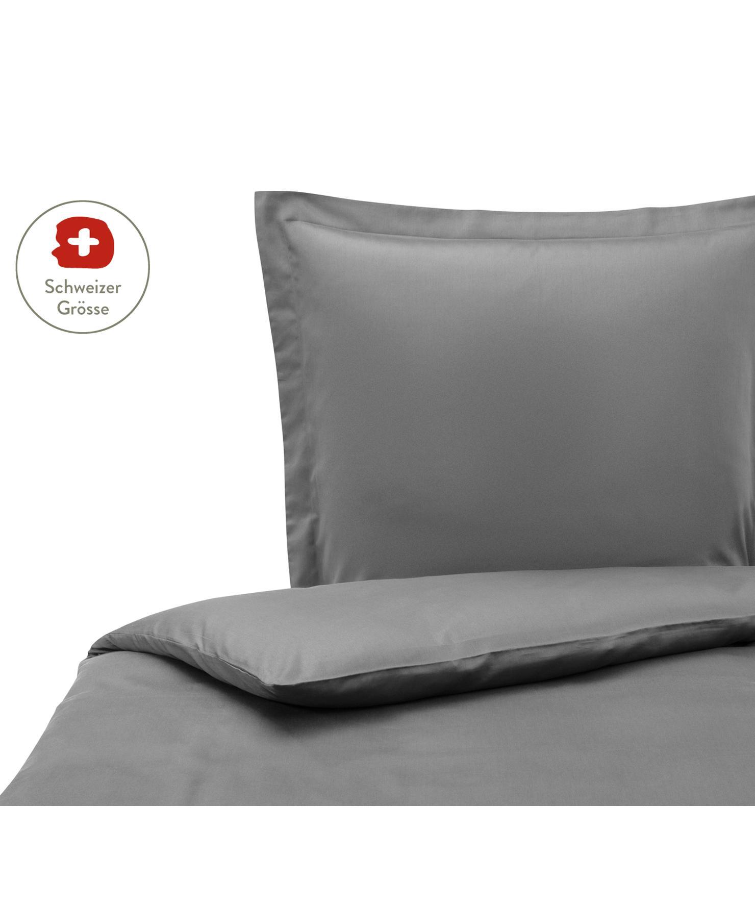 Baumwollsatin-Bettdeckenbezug Premium in Dunkelgrau mit Stehsaum, Webart: Satin, leicht glänzend Fa, Dunkelgrau, 160 x 210 cm