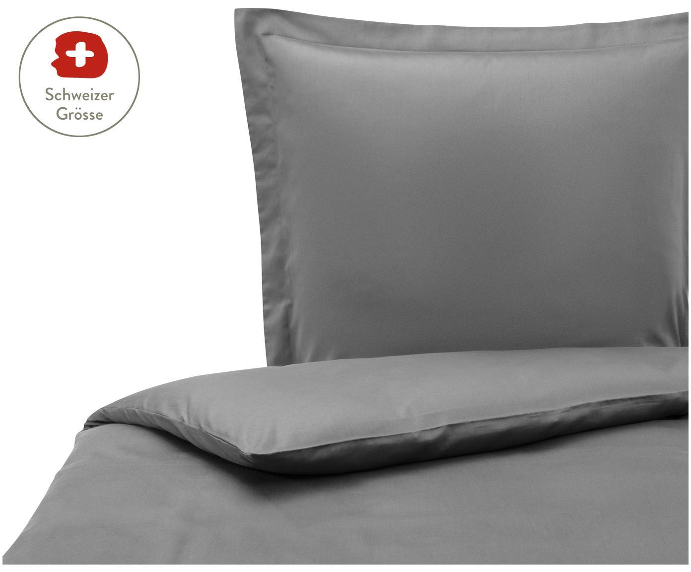 Baumwollsatin-Bettdeckenbezug Premium in Dunkelgrau mit Stehsaum, Webart: Satin, leicht glänzend, Dunkelgrau, 160 x 210 cm