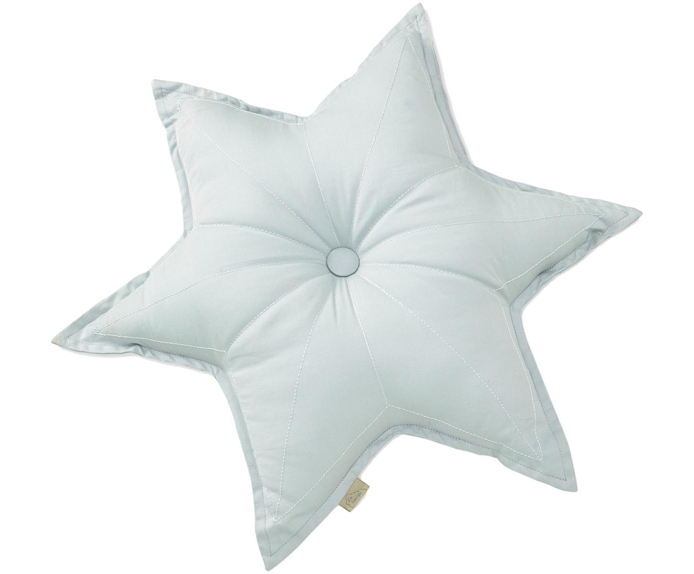 Kissen Star aus Bio-Baumwolle, mit Inlett, Bezug: Bio-Baumwolle, Öko-Tex- u, Hellblau, 45 x 45 cm