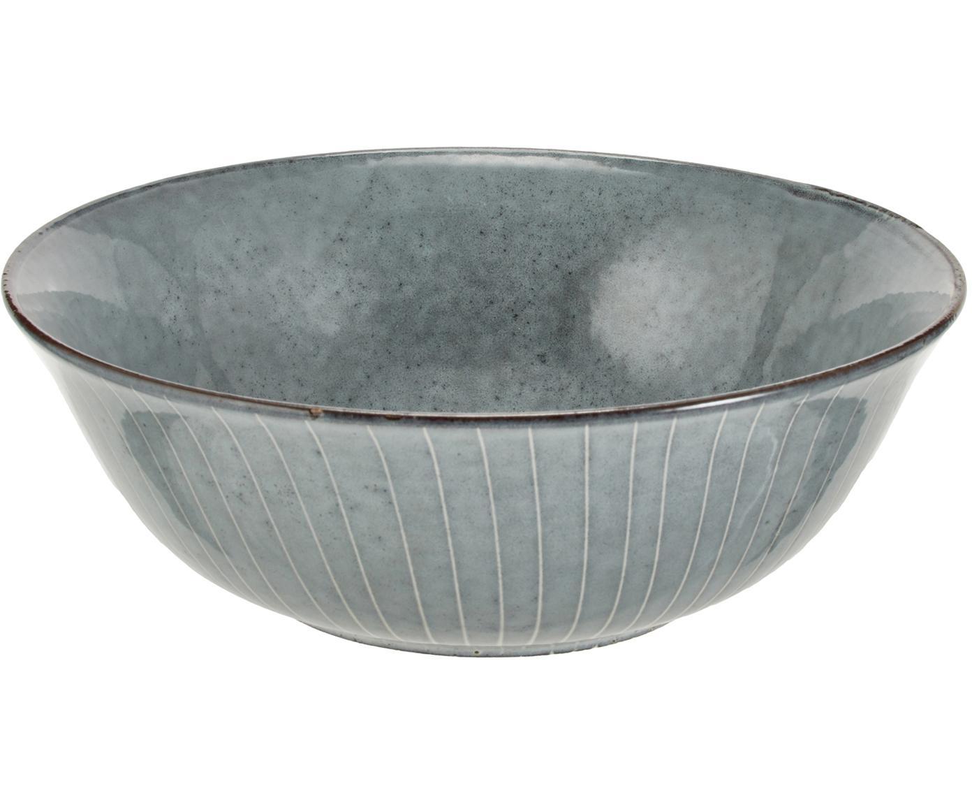 Artesanal bol Nordic Sea, Gres, Tonos de gris y azul, Ø 21 x Al 8 cm