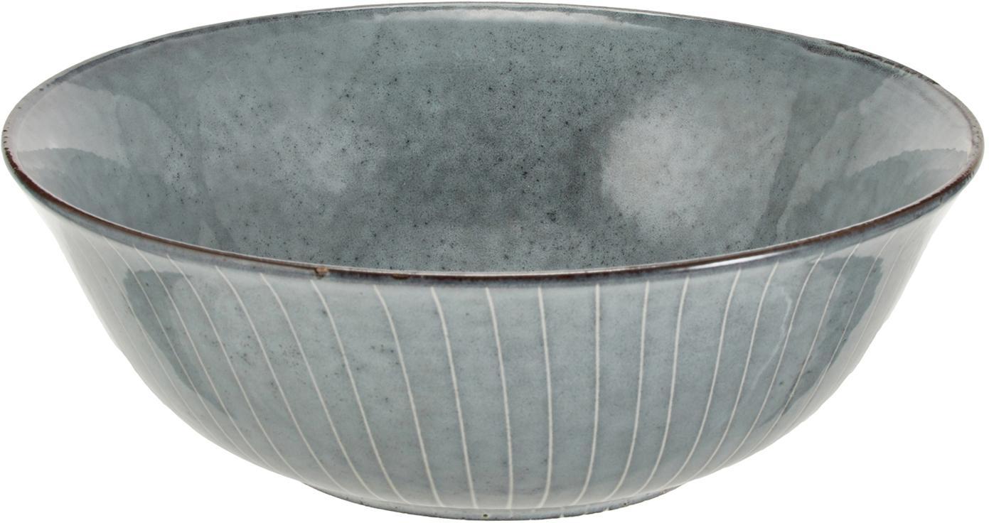 Ręcznie wykonana miska Nordic Sea, Kamionka, Odcienie szarego i niebieskiego, Ø 21 x W 8 cm