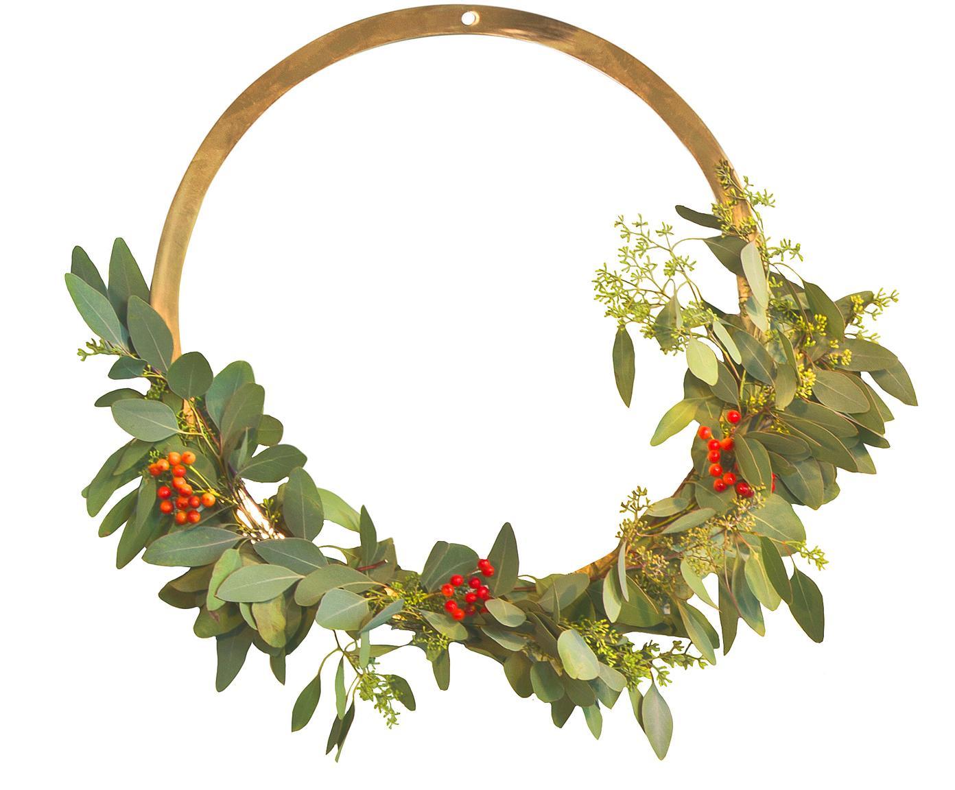 Wandobjekt Wreath, Messing, gebürstet, Messing, Ø 20 cm