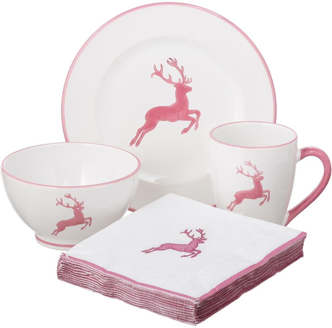 Set de desayuno artesanal Rosa Gourmet Deer, 4pzas., Cerámica, Rosa, blanco, Set de diferentes tamaños