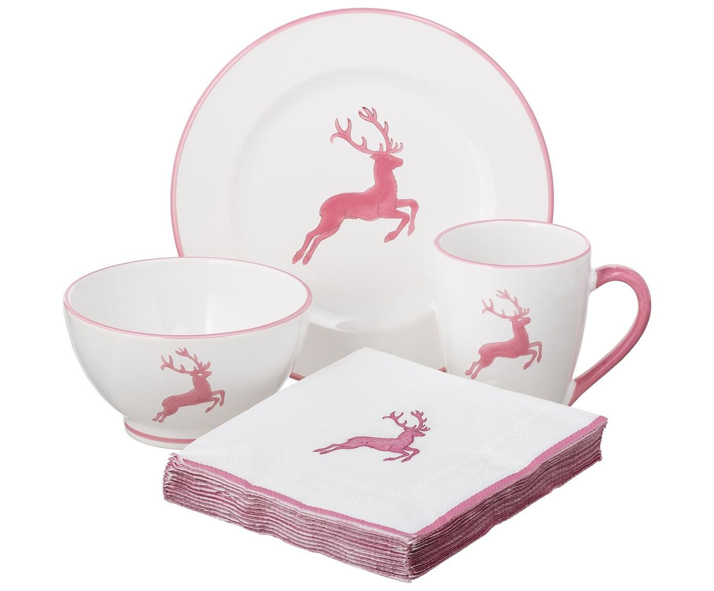 Frühstücks-Set Rosa Gourmet Hirsch, 4-tlg., Keramik, Rosa, Weiß, Sondergrößen