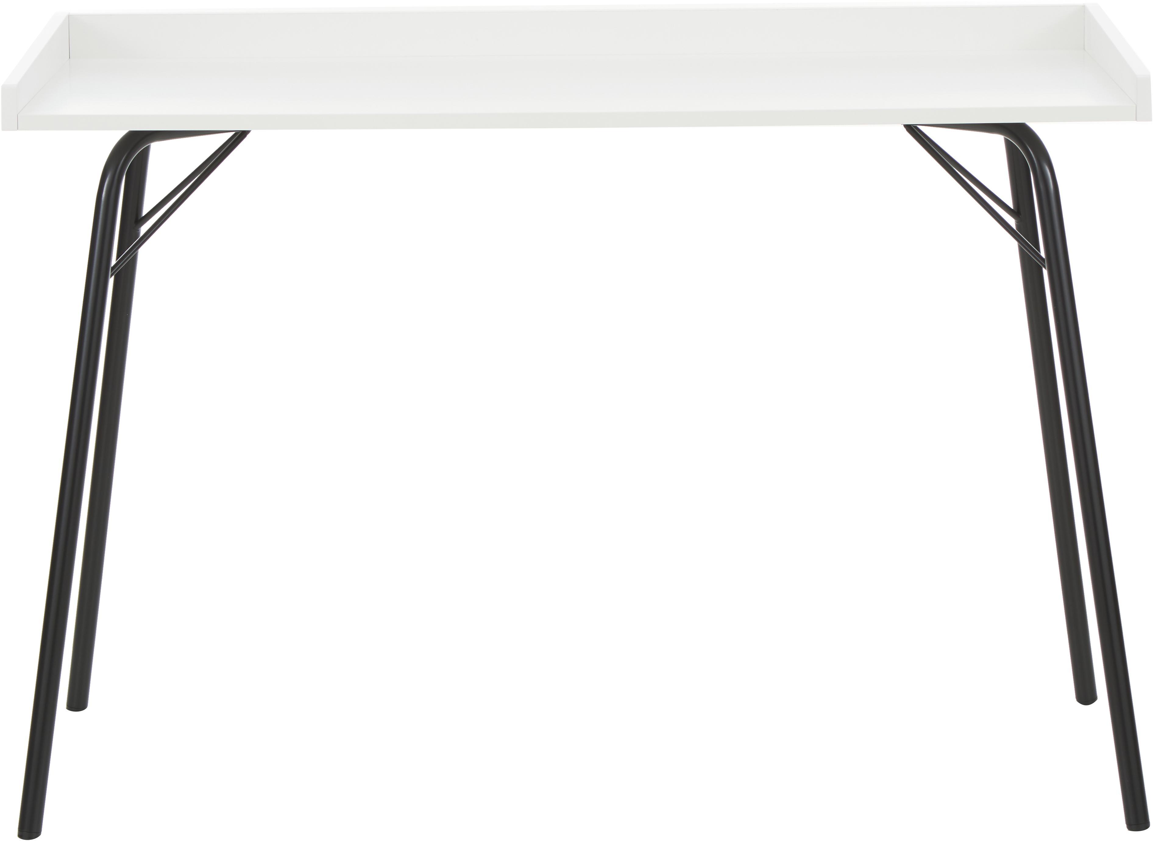 Scrivania con piano bianco Rayburn, Piano d'appoggio: pannello di fibra a media, Struttura: metallo verniciato a polv, Bianco, Larg. 115 x Alt. 78 cm