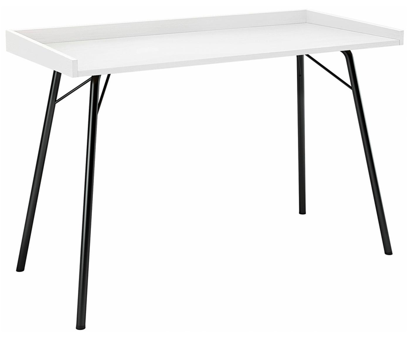 Bureau Rayburn met wit blad, Tafelblad: gelakt MDF, Frame: gepoedercoat metaal, Wit, 115 x 78 cm