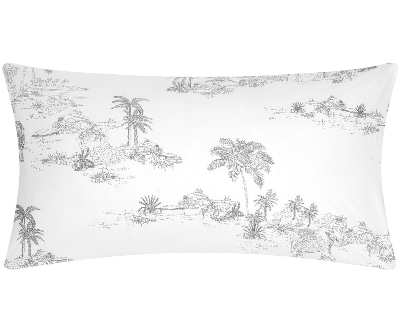 Baumwollperkal-Kissenbezüge Forest mit gezeichnetem Print, 2 Stück, Webart: Perkal Fadendichte 180 TC, Weiß, Grau, 40 x 80 cm