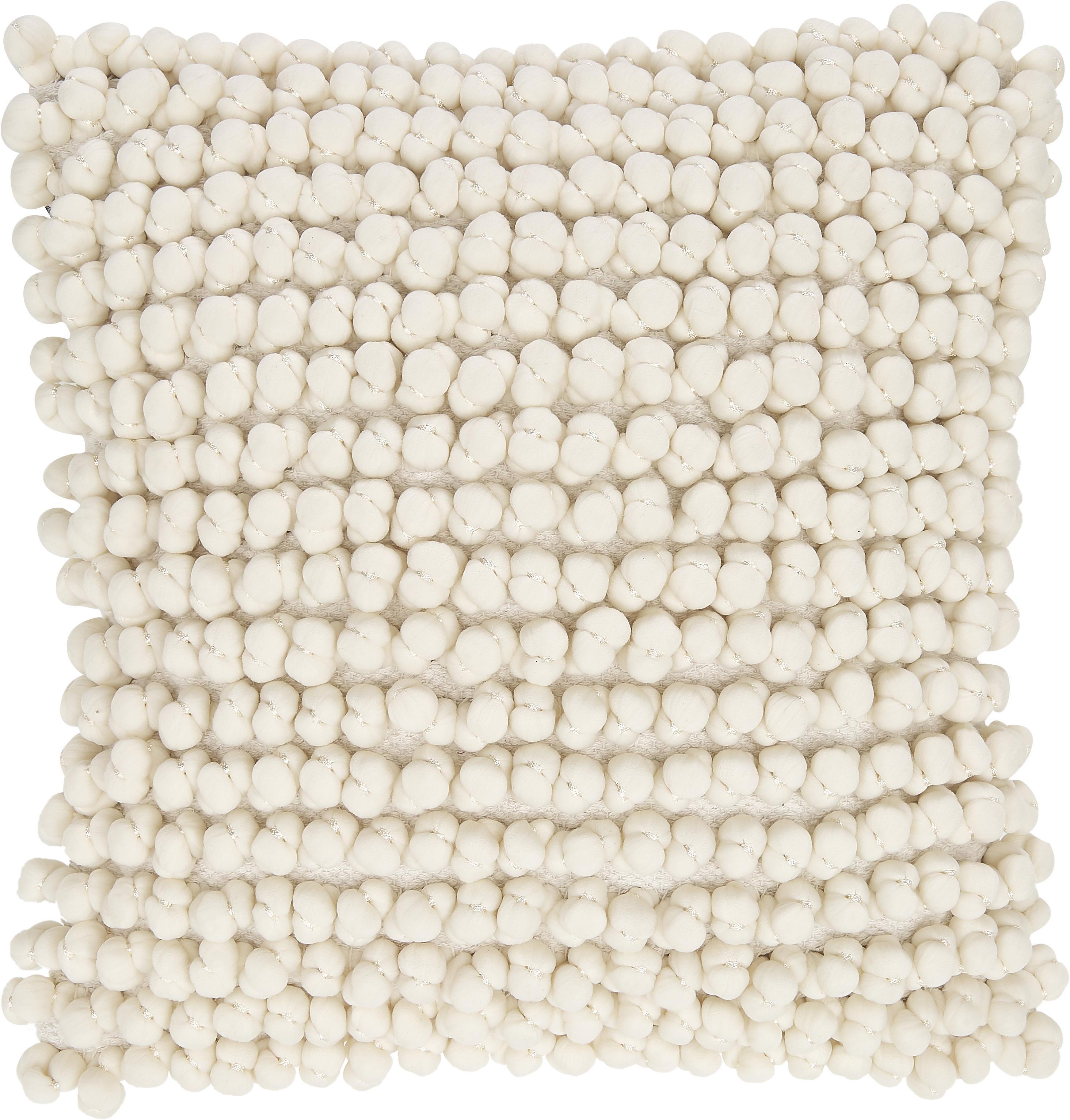 Kissen Bergen mit kleinen Stoffkugeln, mit Inlett, Gebrochenes Weiß, 45 x 45 cm