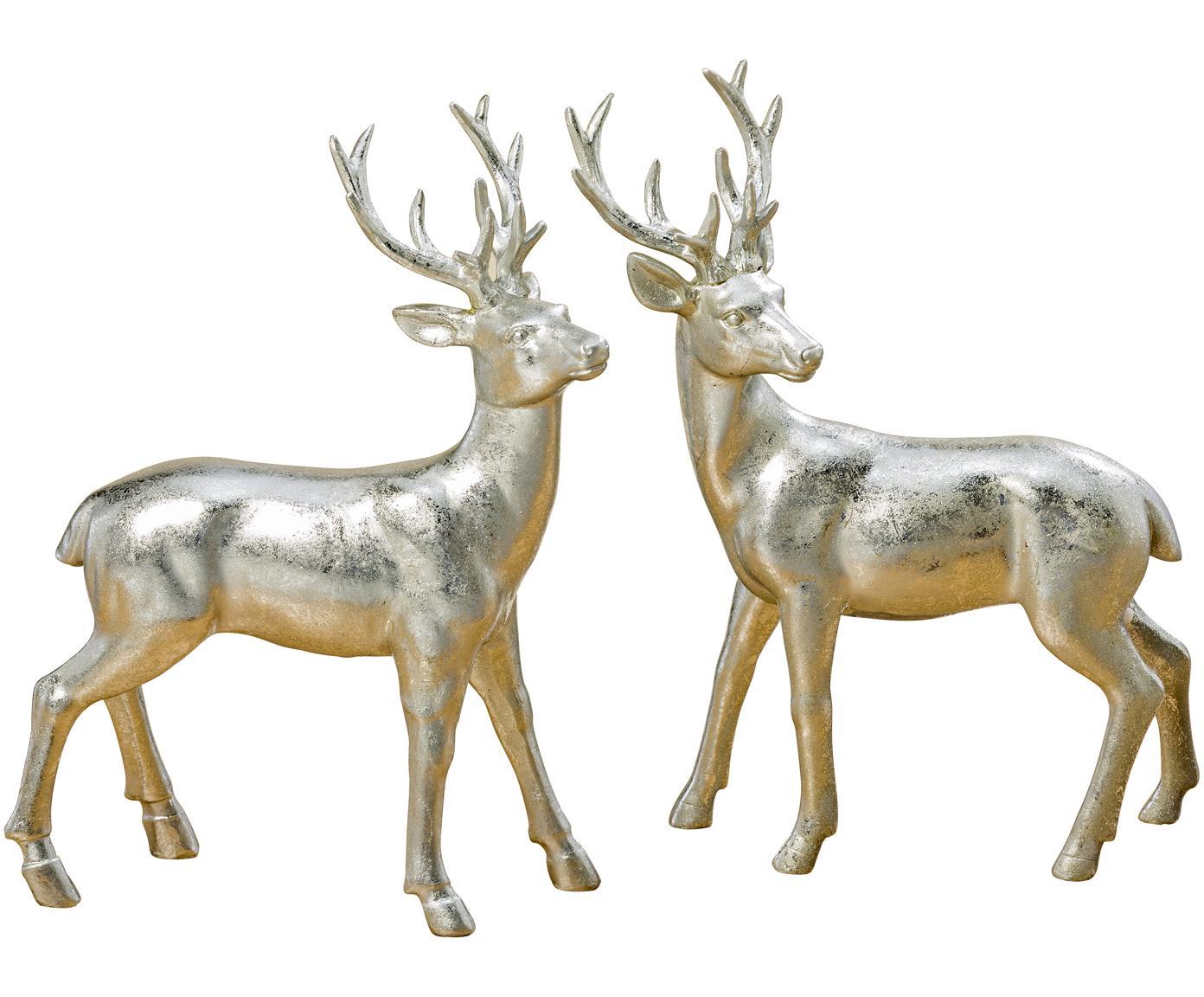 Set 2 oggetti decorativi Tobin, Resina, Argentato, Larg. 16 x Alt. 22 cm