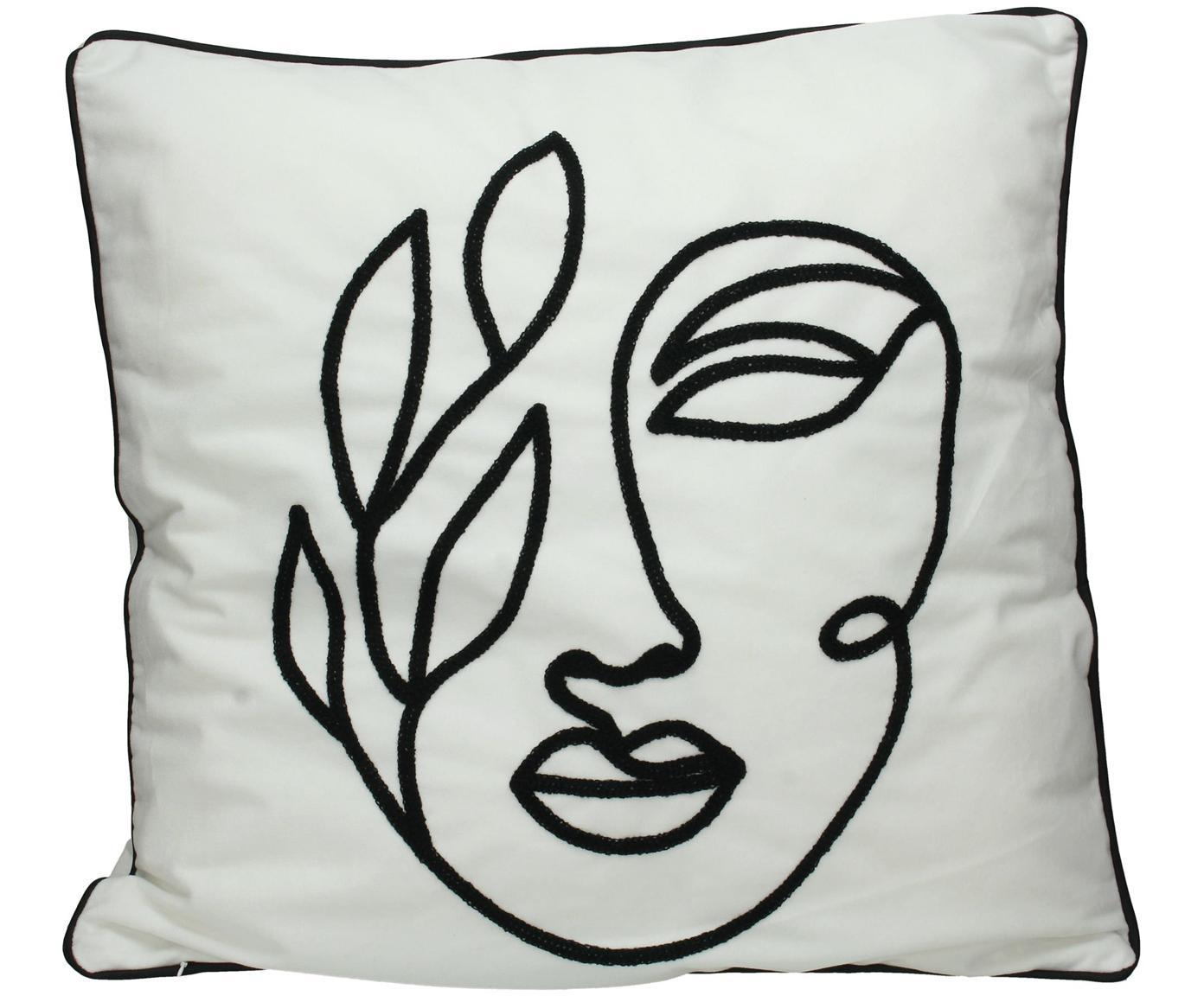 Fluwelen kussen Face met abstracte One Line tekening, met vulling, Polyester fluweel, Wit, zwart, 50 x 50 cm