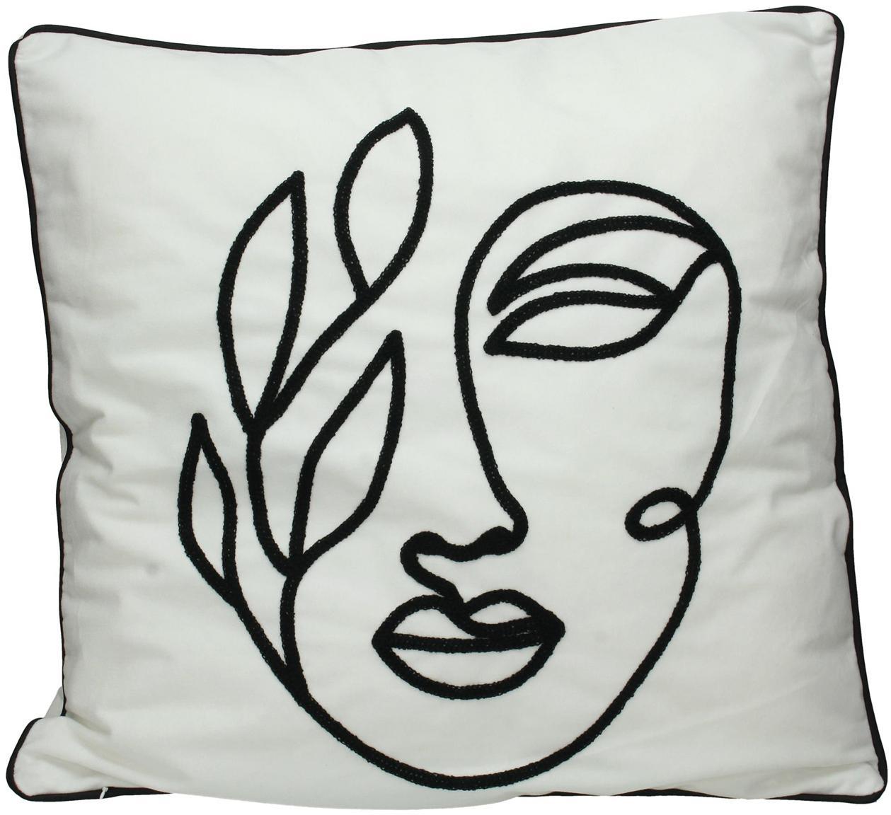 Cuscino in velluto con imbottitura Face, Velluto di poliestere, Bianco, nero, Larg. 50 x Lung. 50 cm