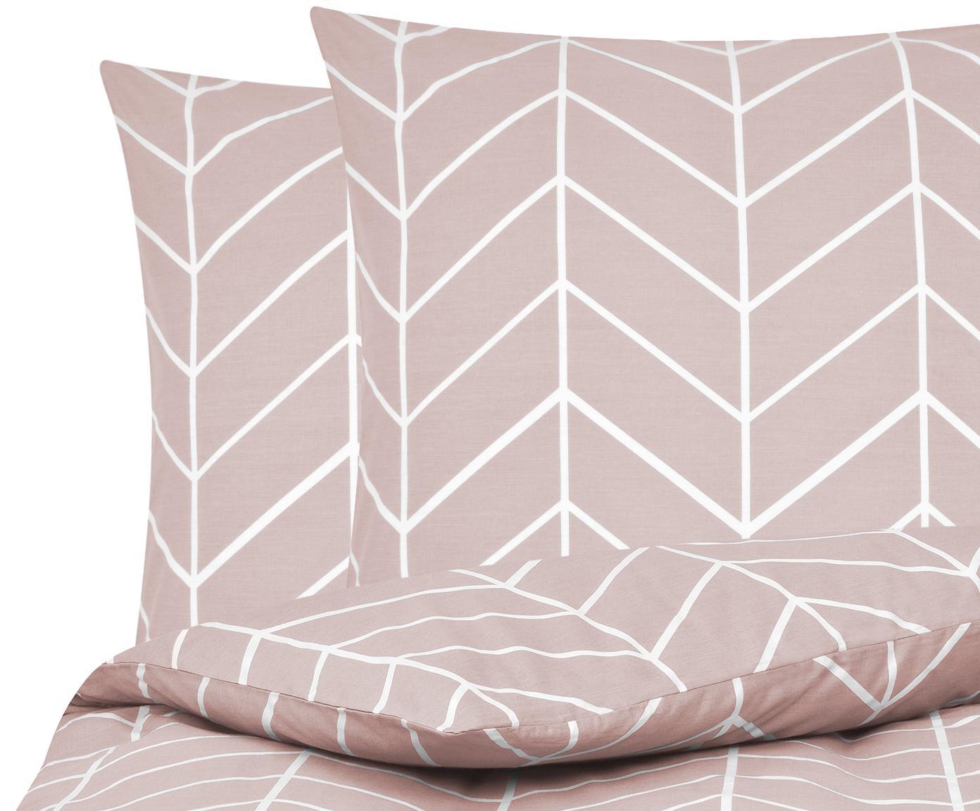 Baumwoll-Bettwäsche Mirja mit grafischem Muster, Webart: Renforcé Fadendichte 144 , Altrosa, Cremeweiß, 200 x 200 cm + 2 Kissen 80 x 80 cm