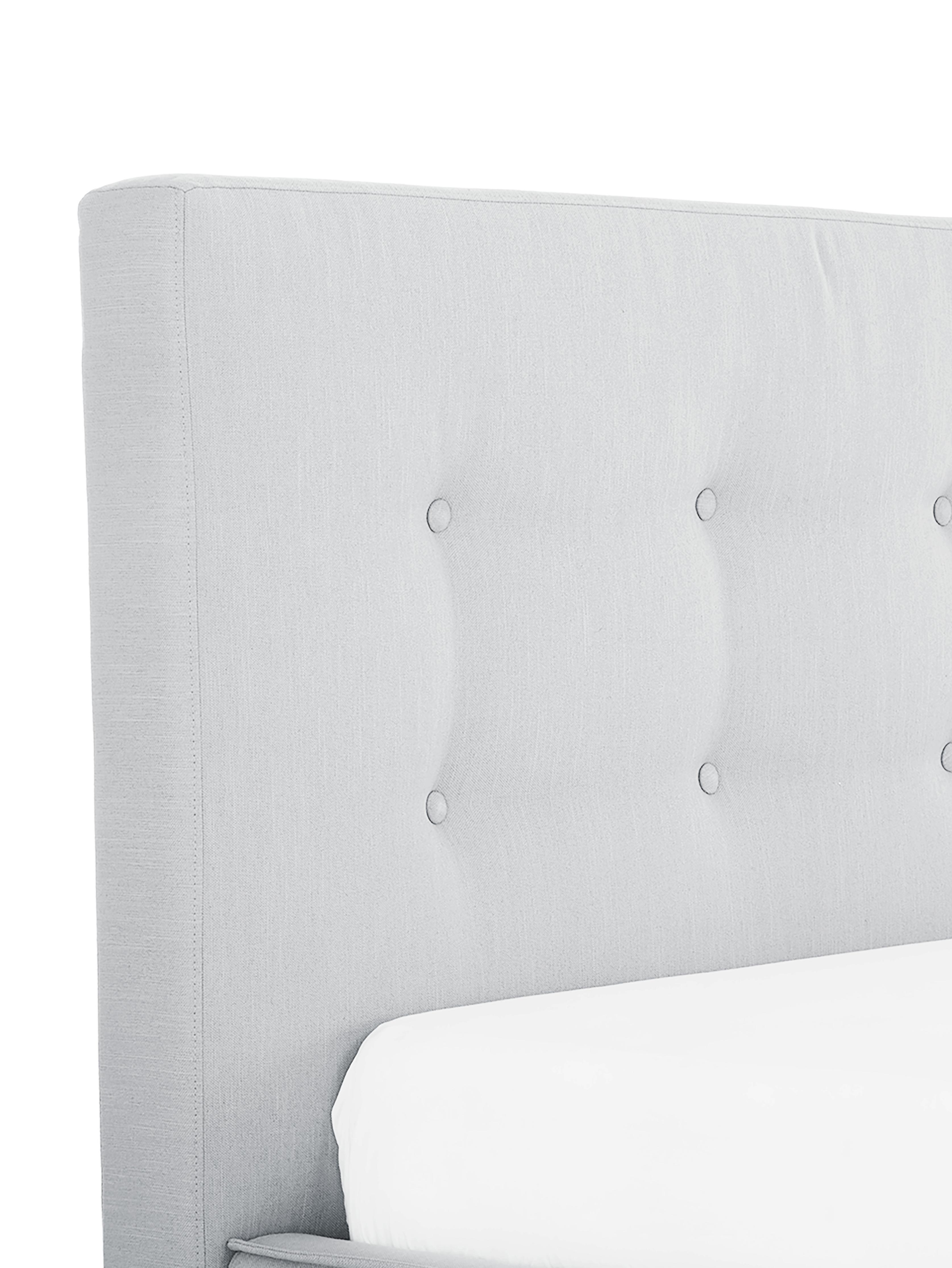 Polsterbett Moon, Korpus: Massives Kiefernholz, Bezug: Polyester (Strukturstoff), Hellgrau, 180 x 200 cm
