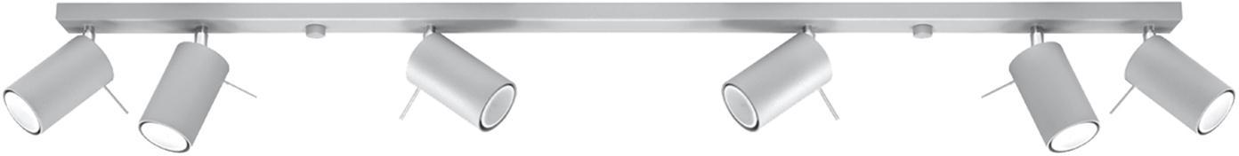 Plafondspot Etna in grijs, Staal, Grijs, 120 x 15 cm