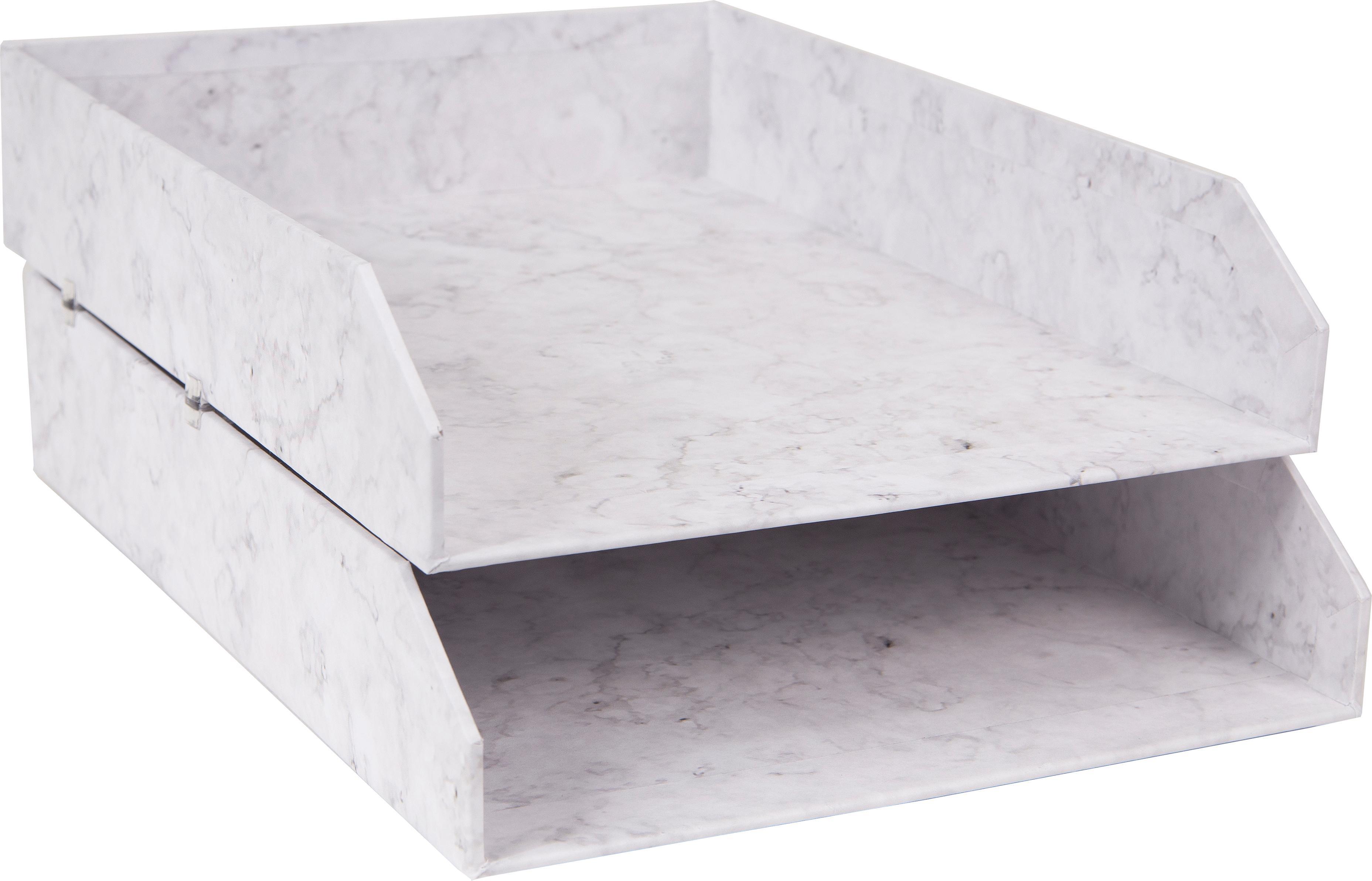 Vassoio per documenti Hakan, 2 pz., Solido, cartone laminato, Bianco marmorizzato, Larg. 23 x Prof. 31 cm