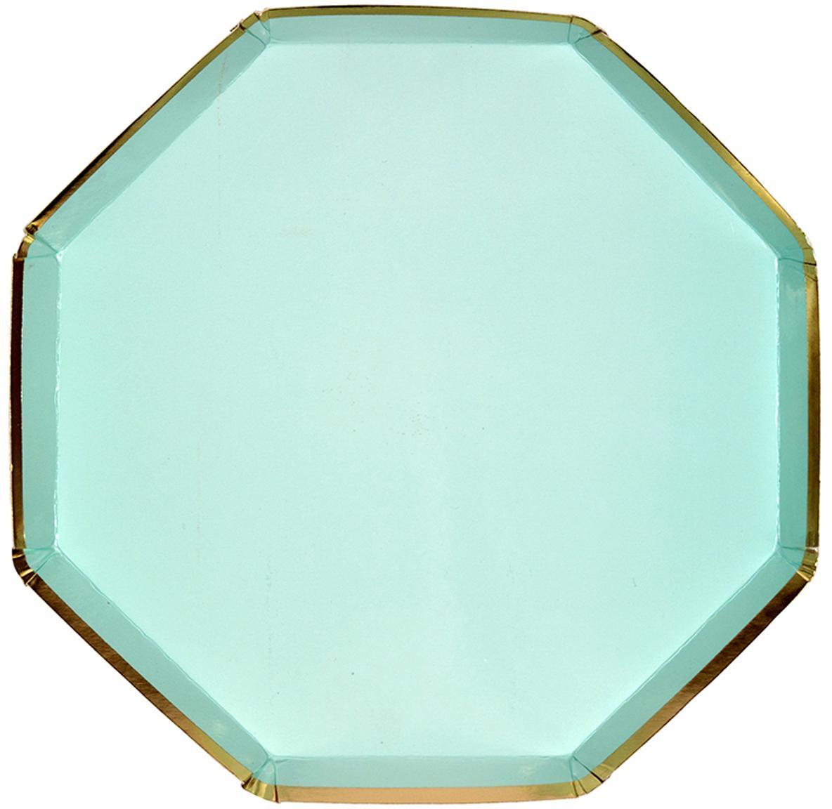 Piatto di carta Simply Eco, 8 pz., Carta, sventato, Verde menta, Ø 20 x Alt. 1 cm