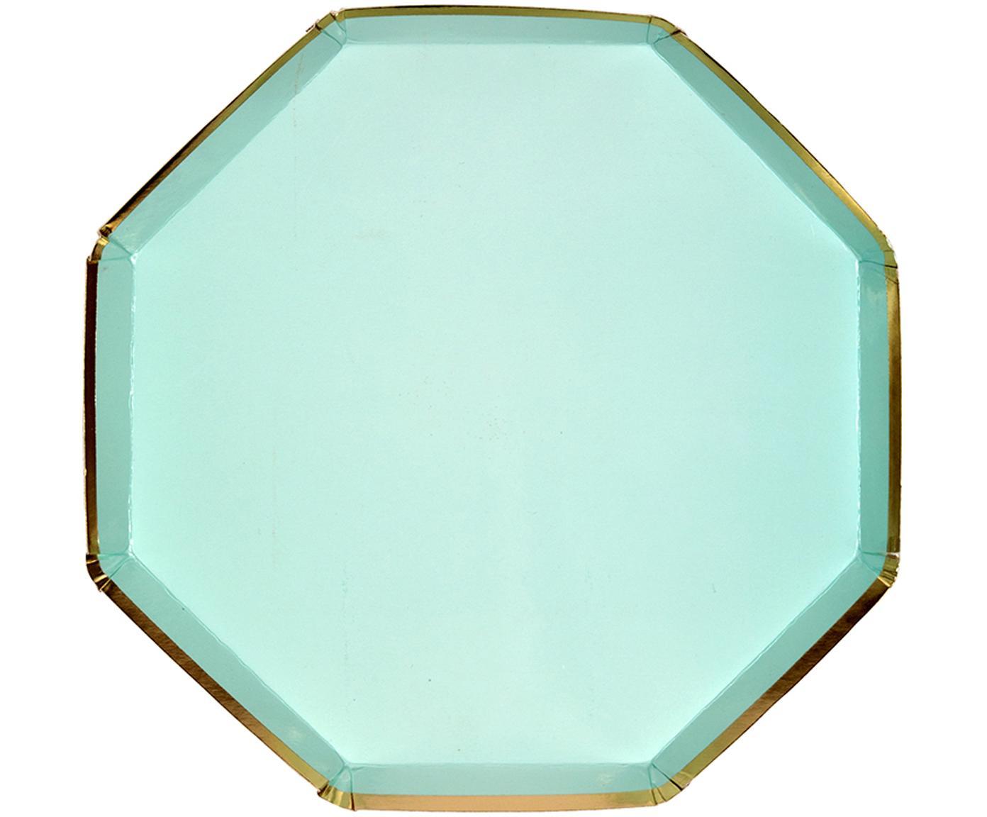 Talerz z papieru Simply Eco, 8 szt., Papier, foliowany, Zielony miętowy, Ø 20 x W 1 cm