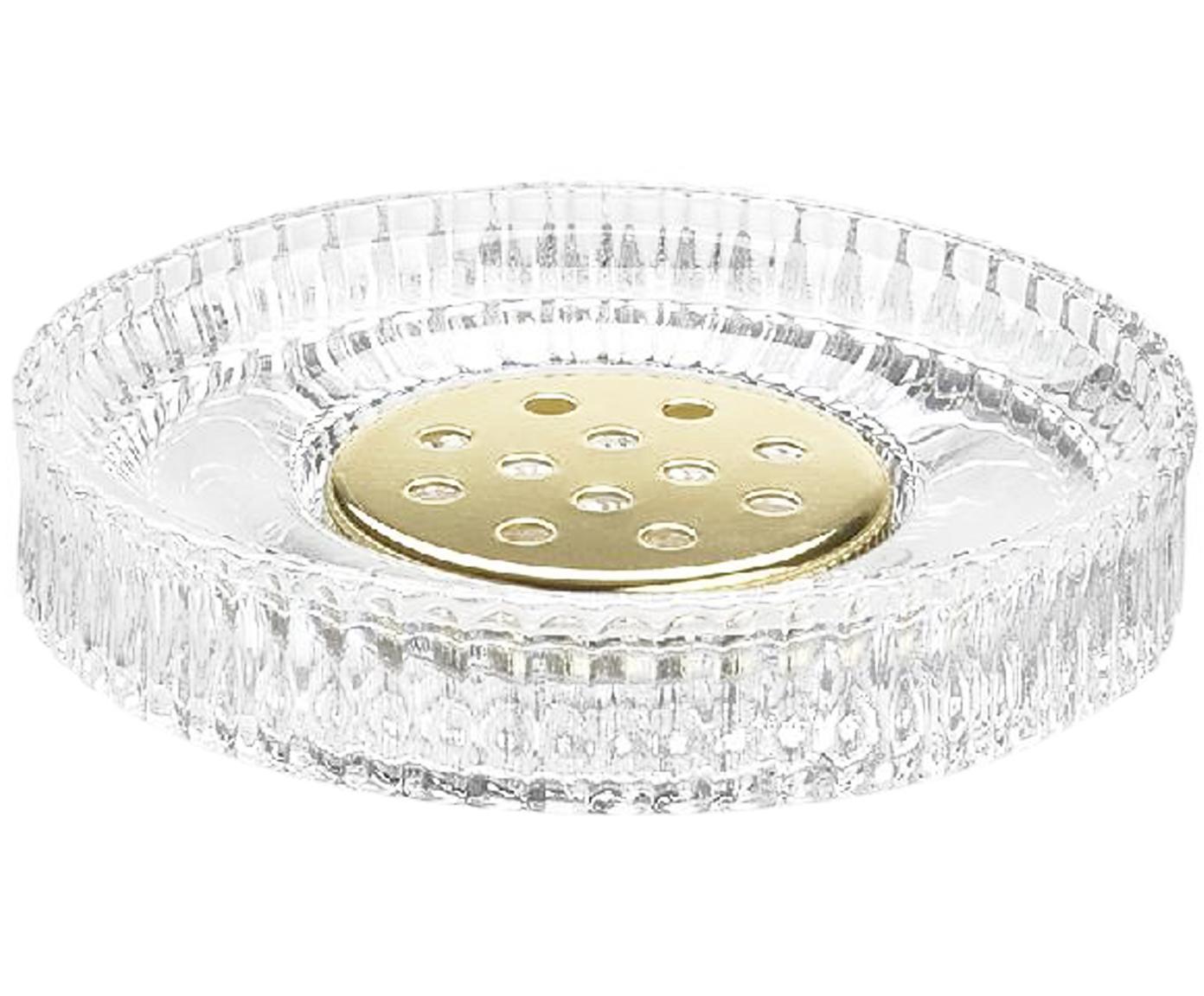 Seifenschale Gulji aus Glas, Glas, Metall, Transparent, Goldfarben, Ø 11 x H 2 cm