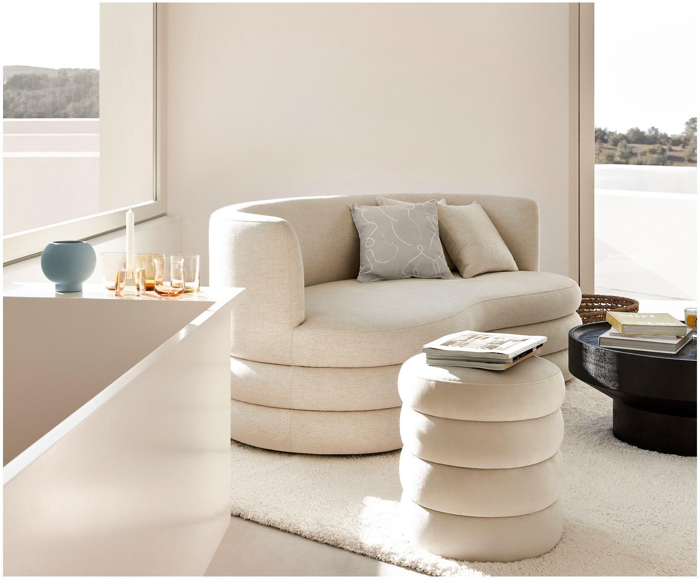 Housse de coussin à imprimé abstrait Amino, Beige/blanc