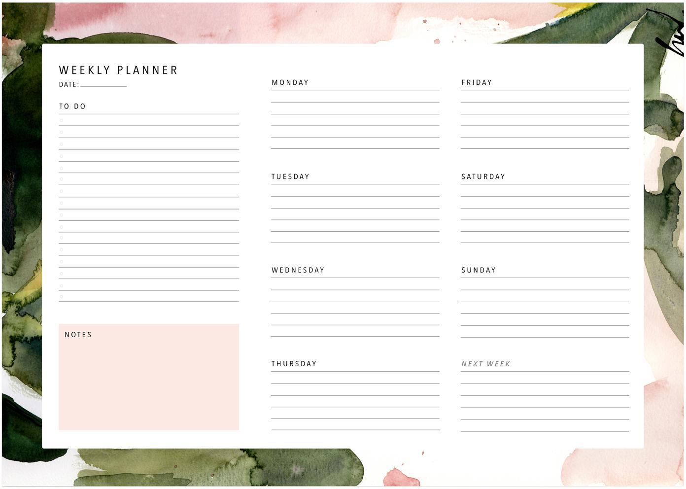 Wochenplaner Floral Colours, Papier, Rosa, Grün, Weiss, 30 x 21 cm