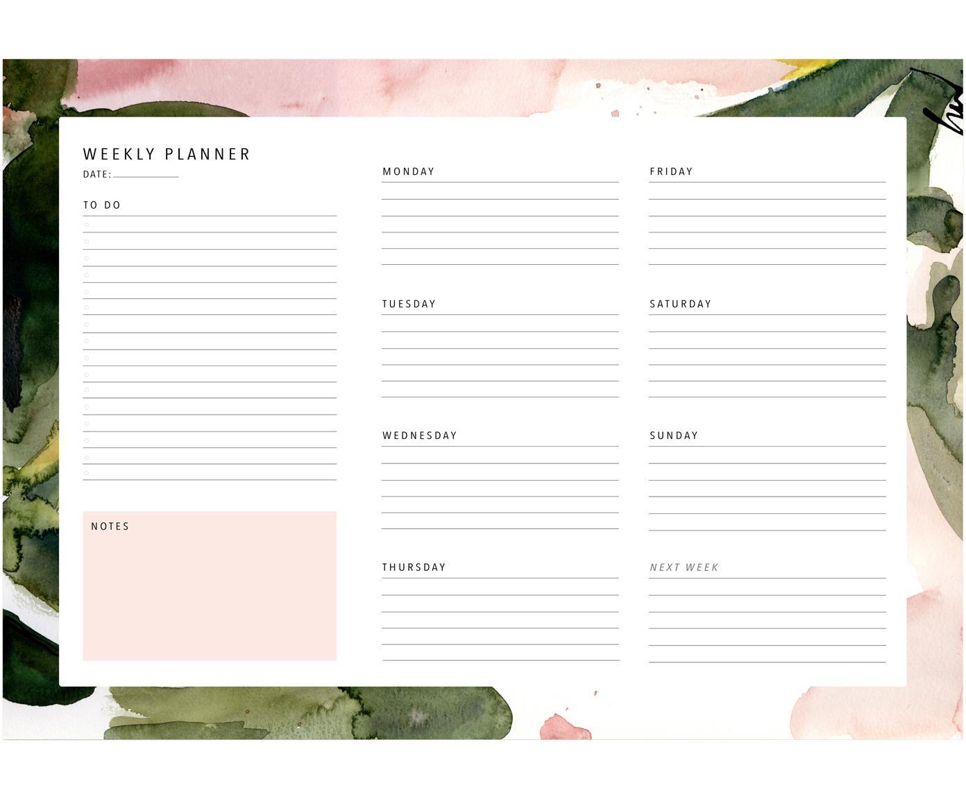 Planificador semanal Floral Colours, Papel, Rosa, verde, blanco, An 30 x Al 21 cm