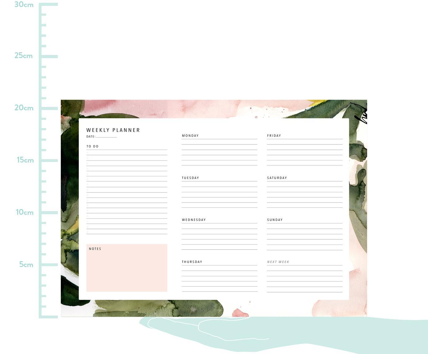 Wochenplaner Floral Colours, Papier, Rosa, Grün, Weiß, 30 x 21 cm