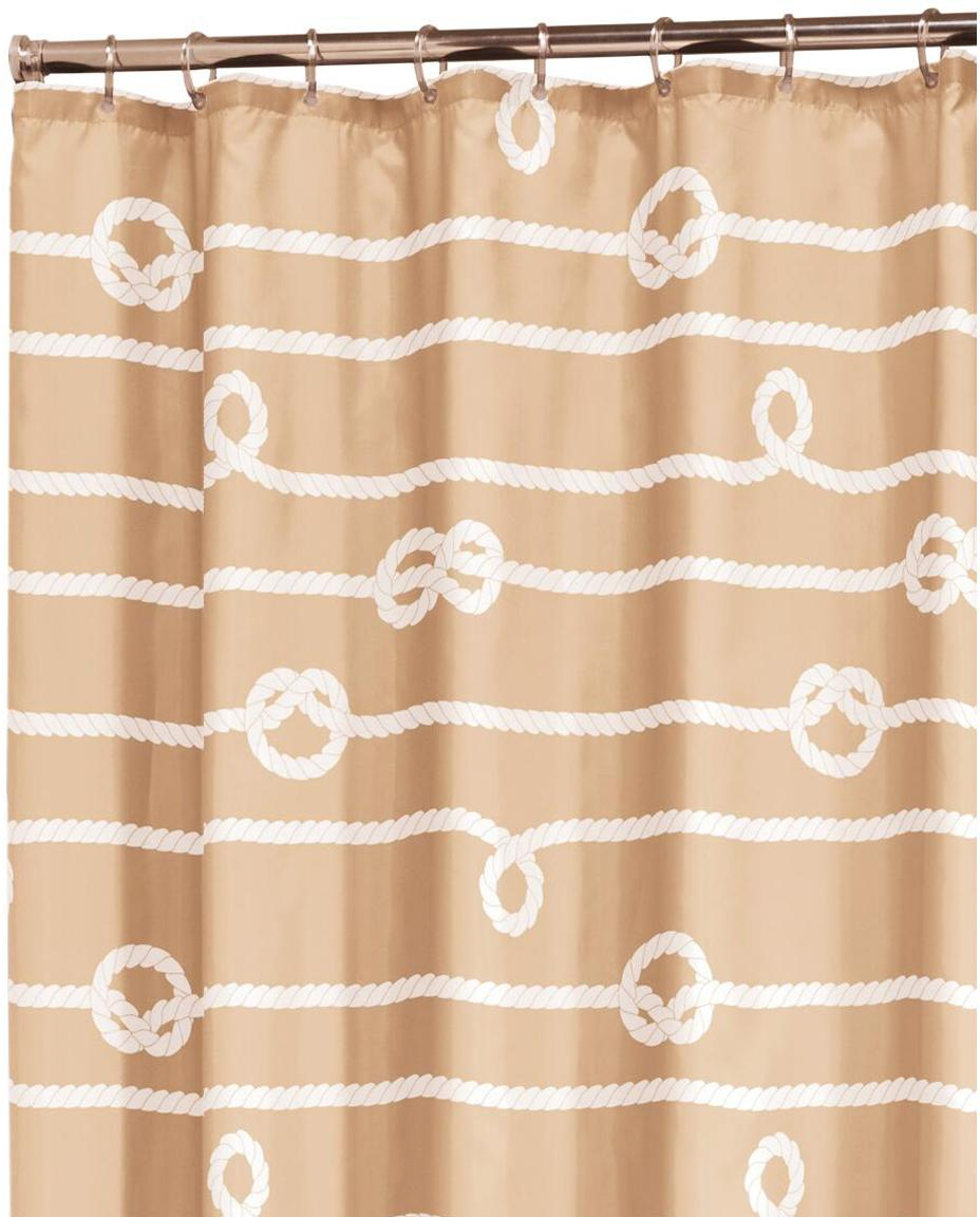 Douchegordijn Rope, Oogjes: metaal, Zandkleurig, wit, 180 x 200 cm