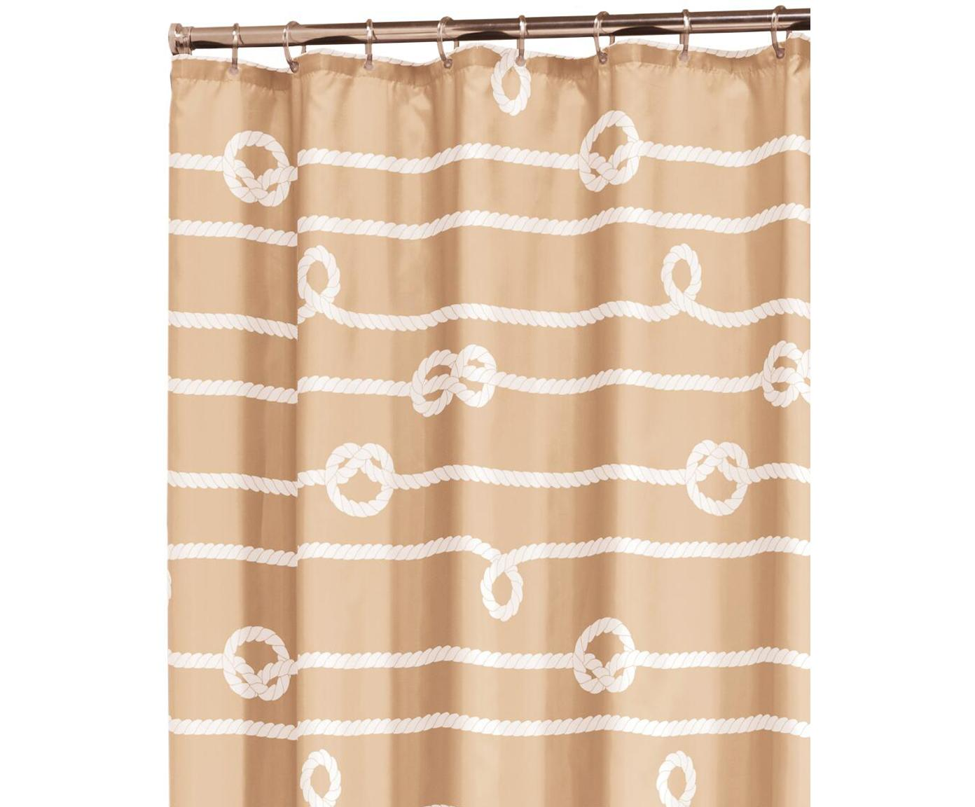 Douchegordijn Rope, Polyester Waterafstotend, niet waterdicht, Zandkleurig, wit, 180 x 200 cm