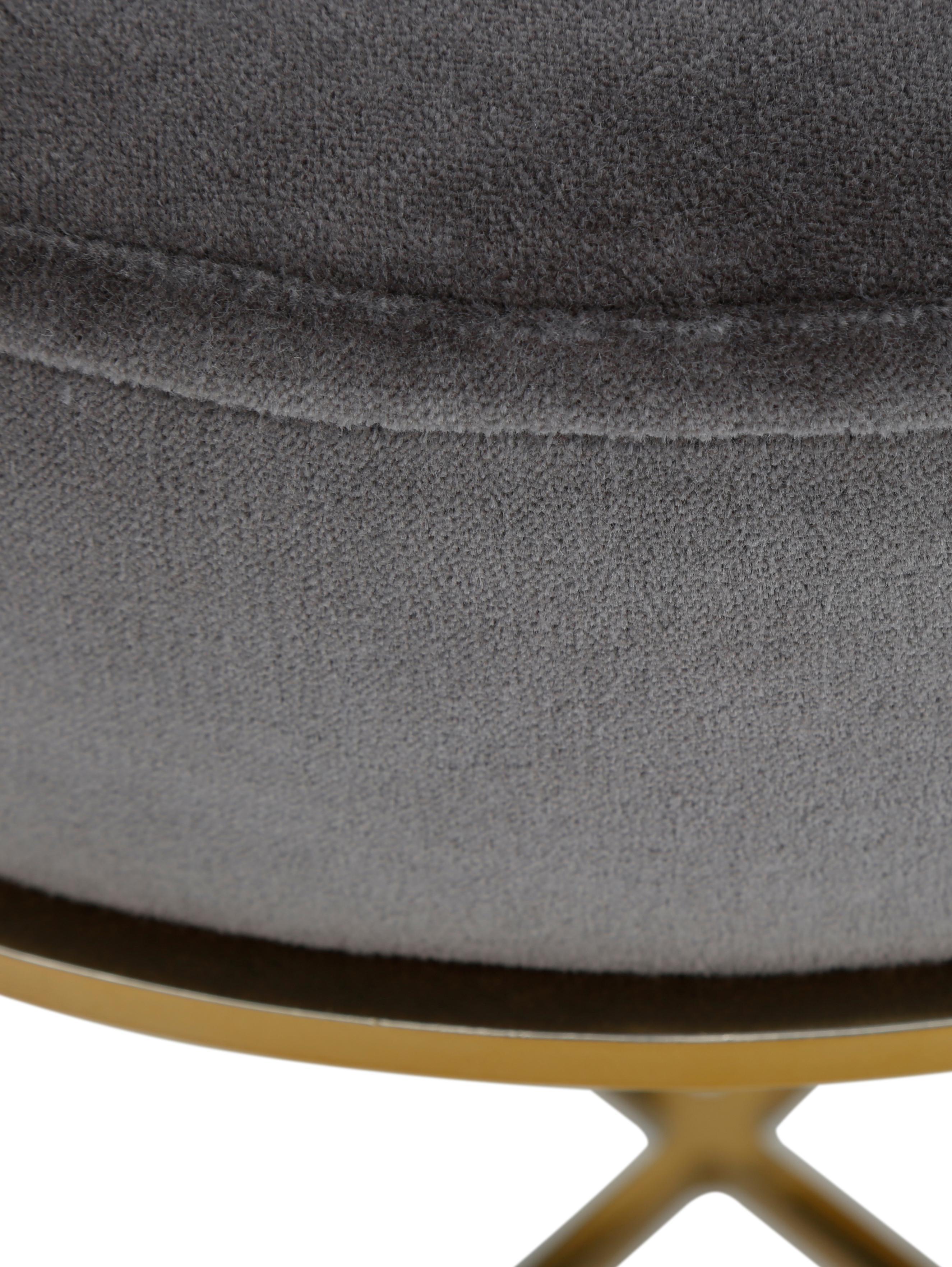 Fluwelen kruk Madeleine met metalen frame, Bekleding: katoen fluweel, Voet: gepoedercoat metaal, Bekleding: donkergrijs. Voet: goudkleurig, mat, Ø 40 x H 50 cm