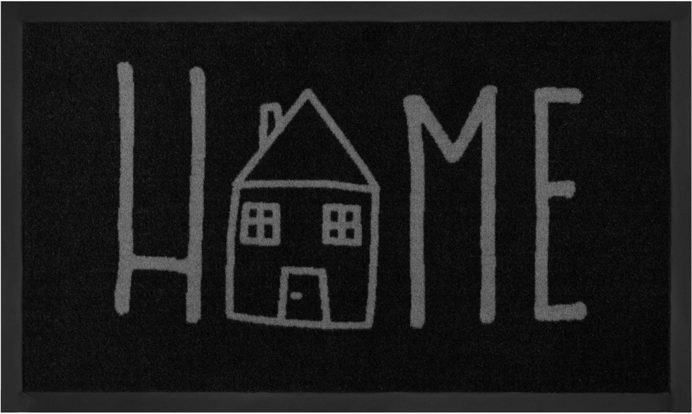 Polyamid-Fussmatte Easy Home, Vorderseite: Polyamid, Rückseite: Gummi, Schwarz, Grau, 45 x 75 cm