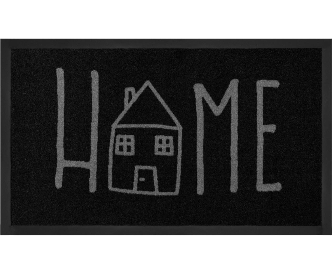 Deurmat Easy Home, Bovenzijde: polyamide, Onderzijde: rubber, Zwart, grijs, 45 x 75 cm